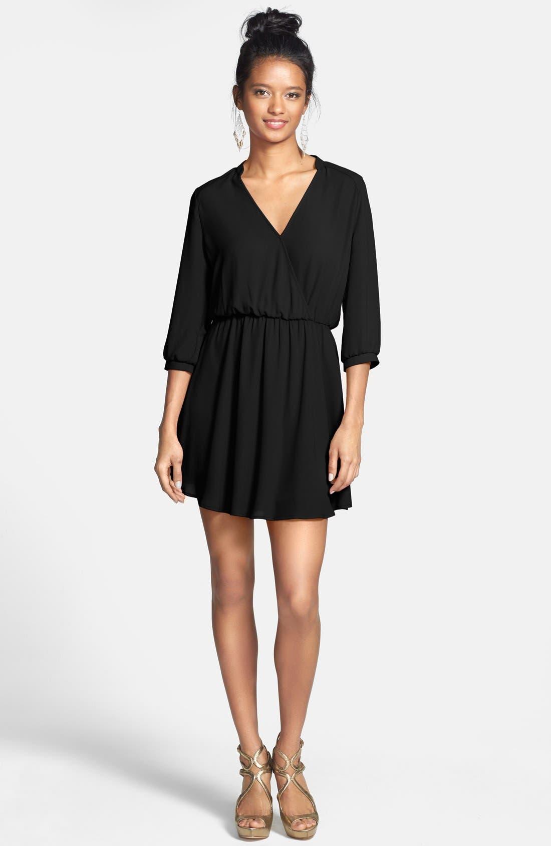 ---, Kendal' Surplice Faux Wrap Dress, Alternate thumbnail 2, color, 001