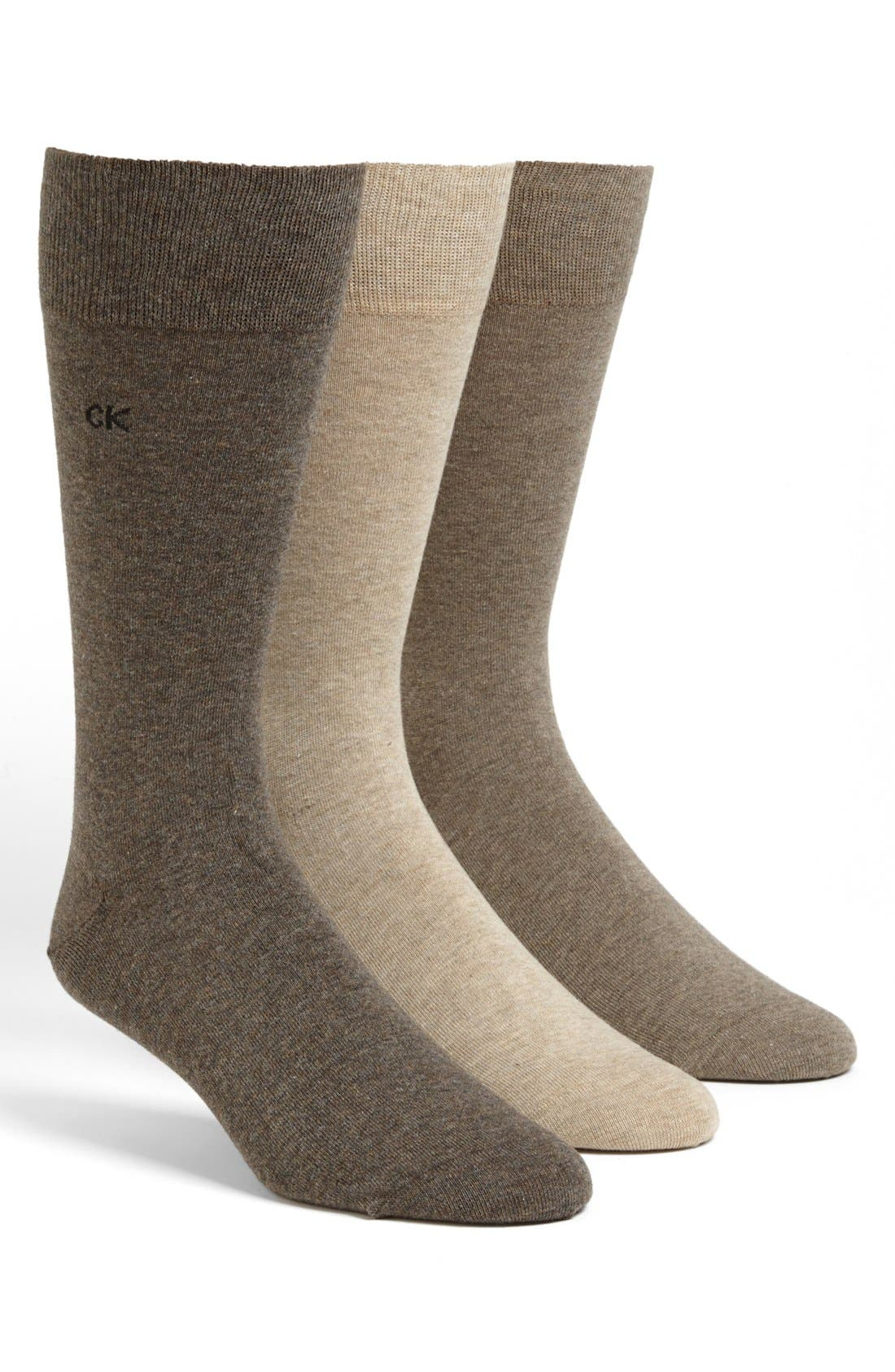 CALVIN KLEIN, Assorted 3-Pack Socks, Main thumbnail 1, color, ASSORTED BROWN