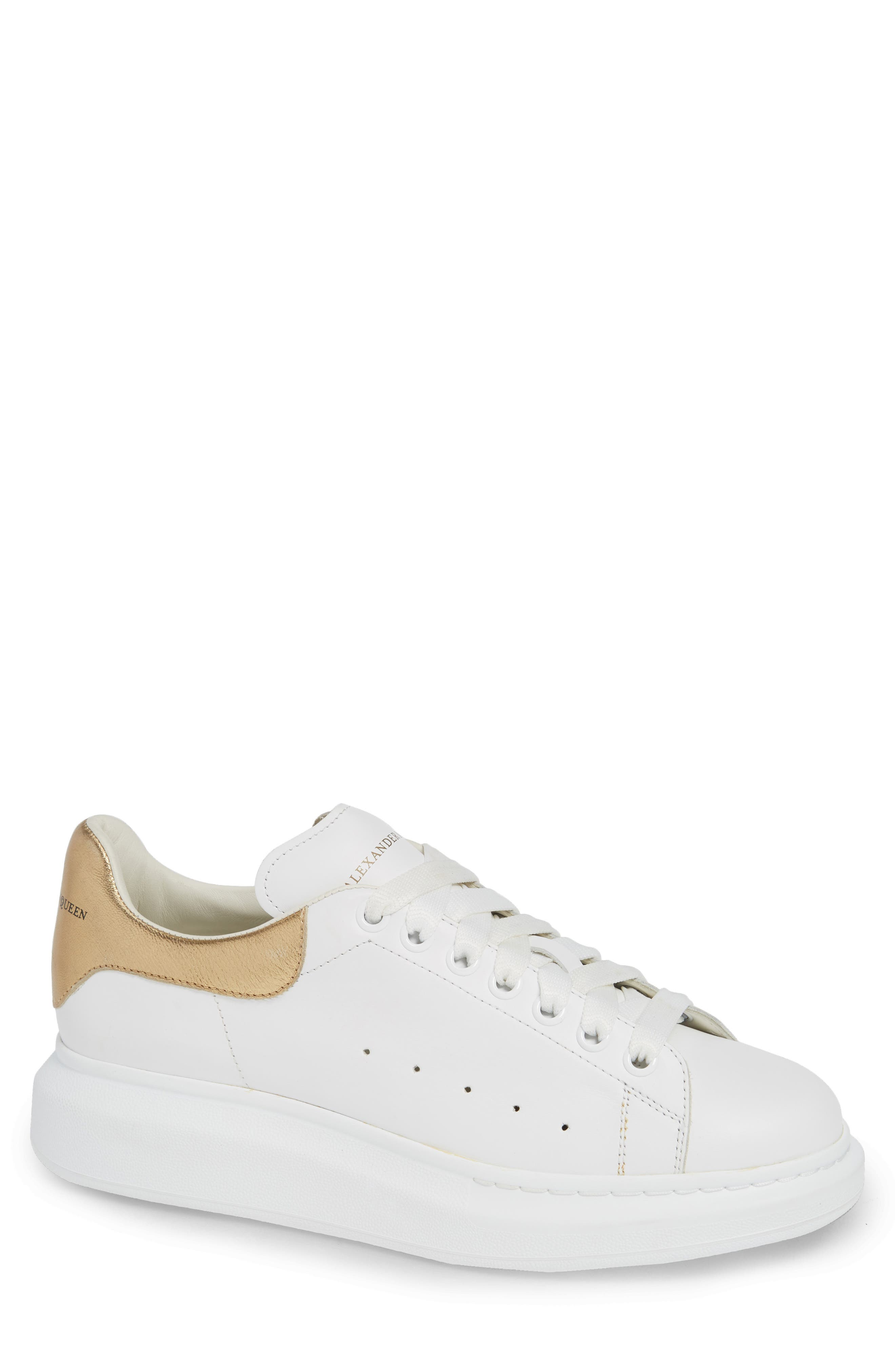 ALEXANDER MCQUEEN, Oversized Sneaker, Main thumbnail 1, color, WHITE/ GOLD