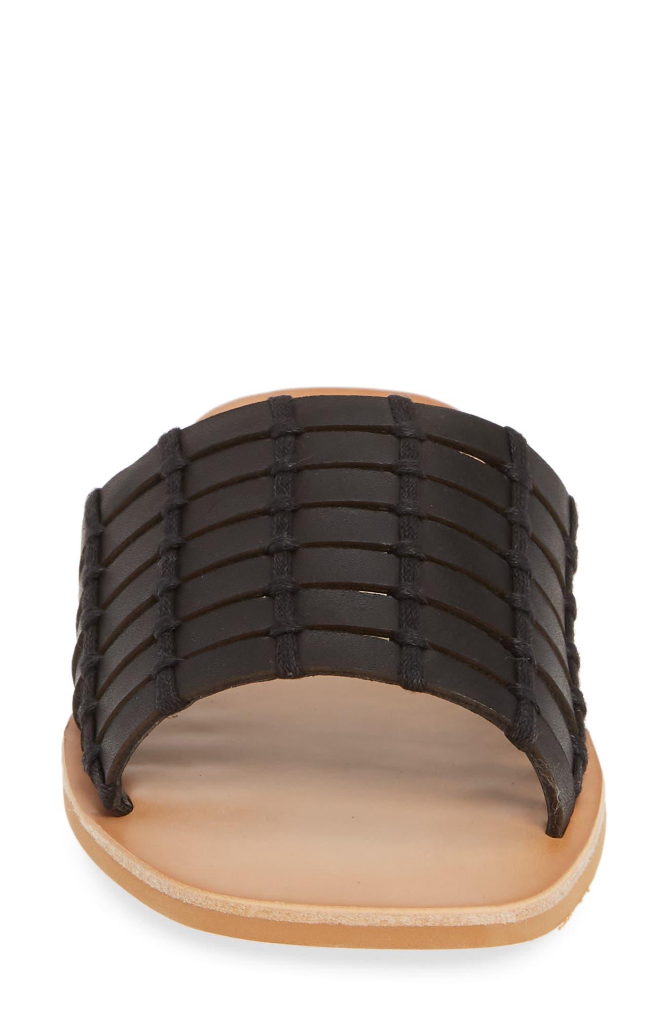 DOLCE VITA, Colsen Slide Sandal, Alternate thumbnail 4, color, BLACK LEATHER