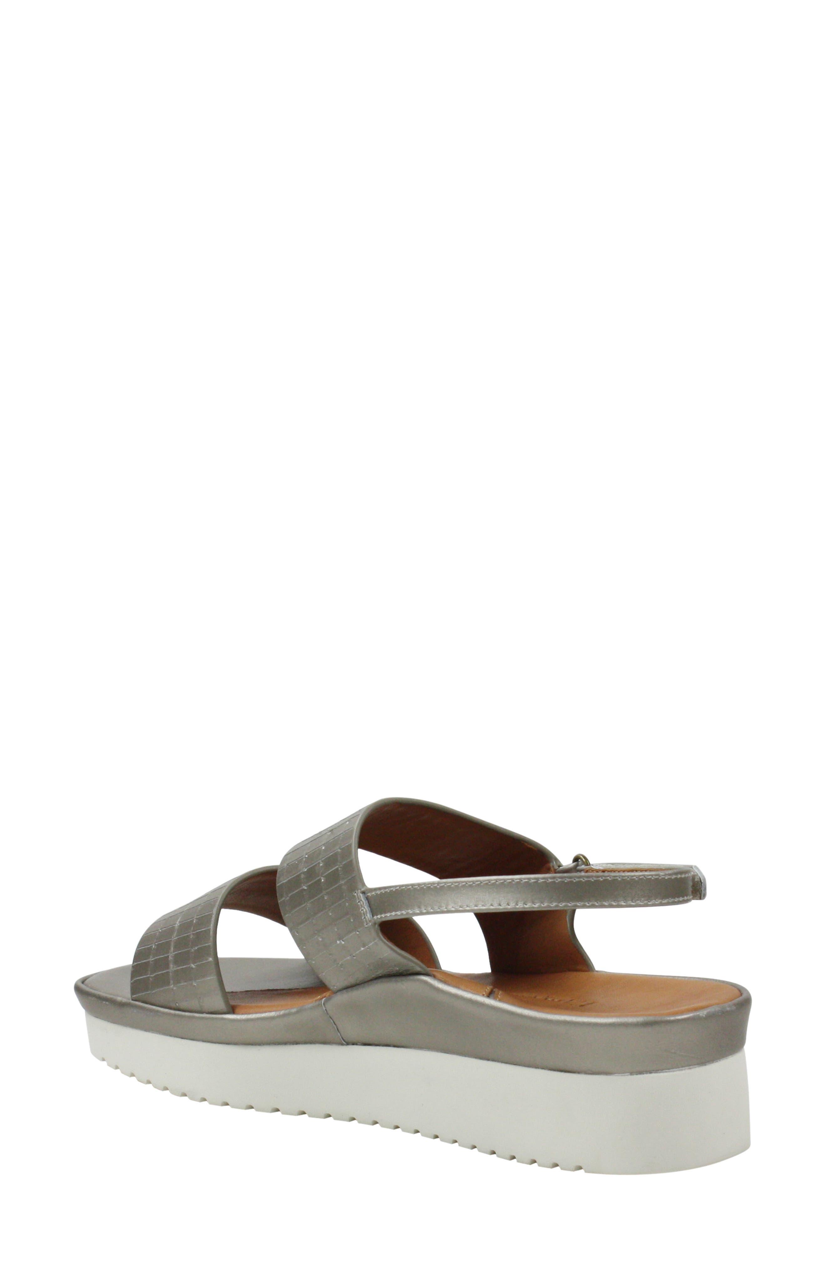L'AMOUR DES PIEDS, Abruzzo Slingback Platform Wedge Sandal, Alternate thumbnail 2, color, PEARLIZED PLATINUM LEATHER