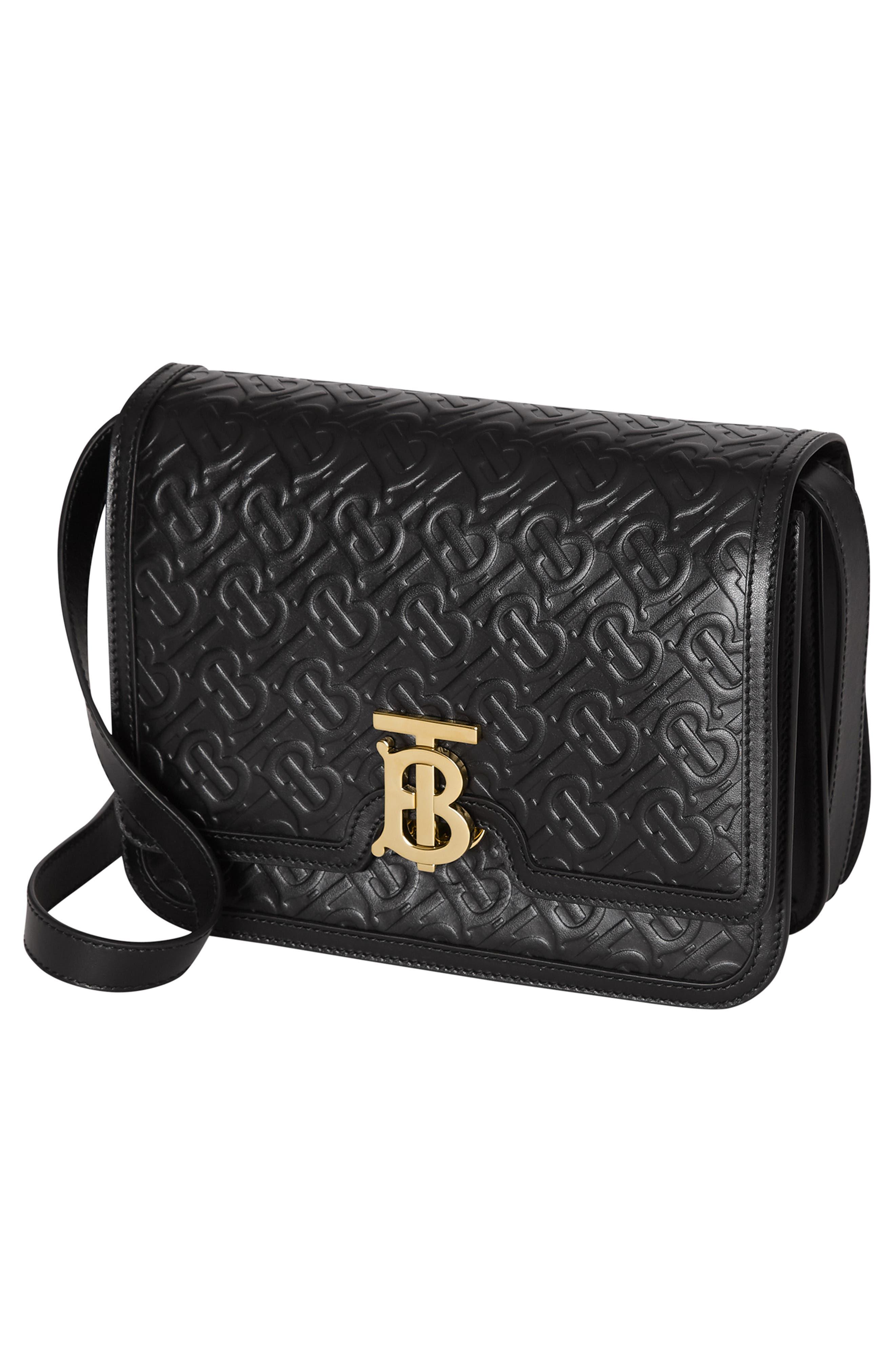 BURBERRY, Medium TB Monogram Leather Bag, Alternate thumbnail 6, color, BLACK