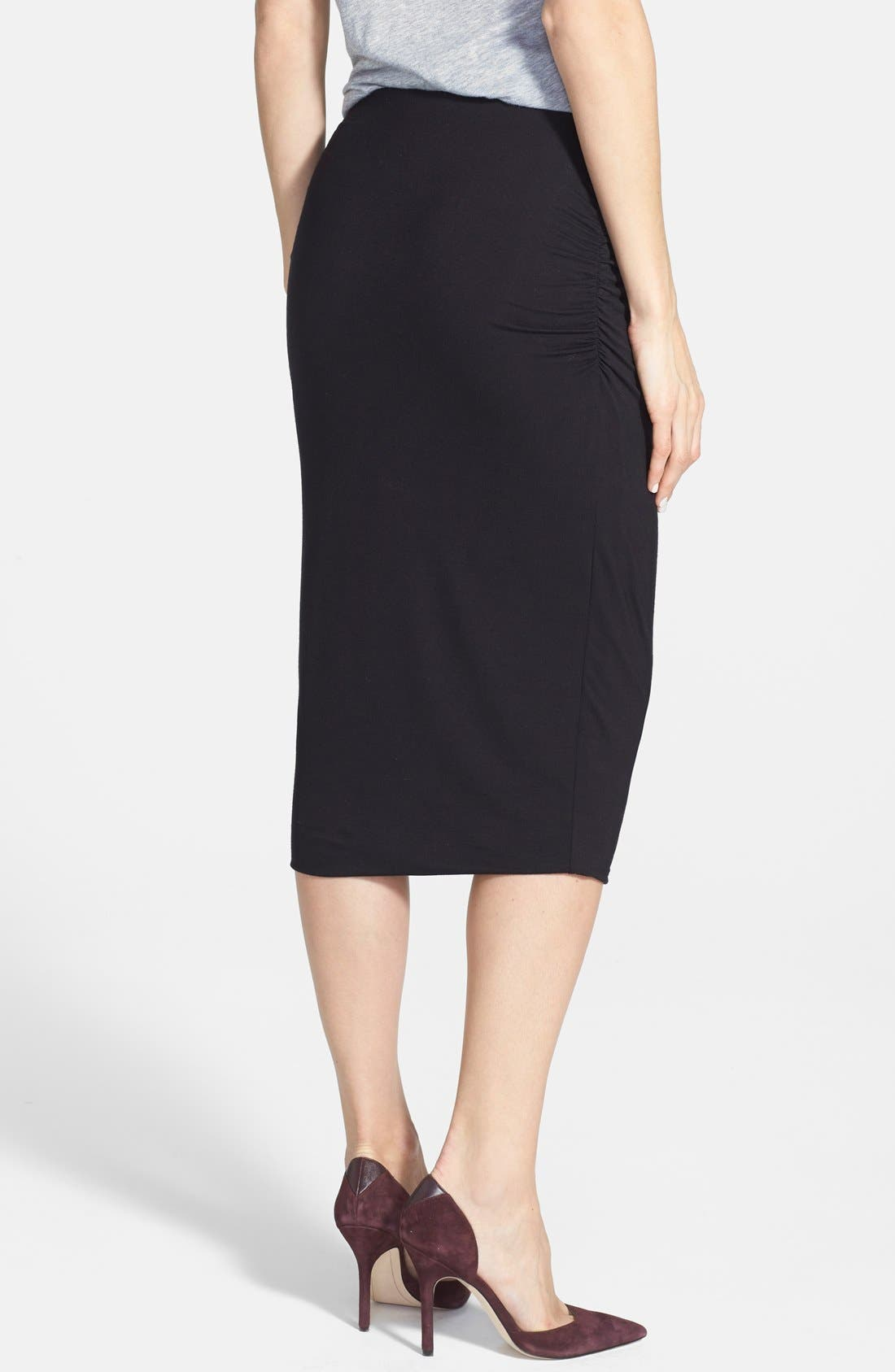 CASLON<SUP>®</SUP>, Side Ruched Stretch Knit Midi Skirt, Alternate thumbnail 3, color, 001