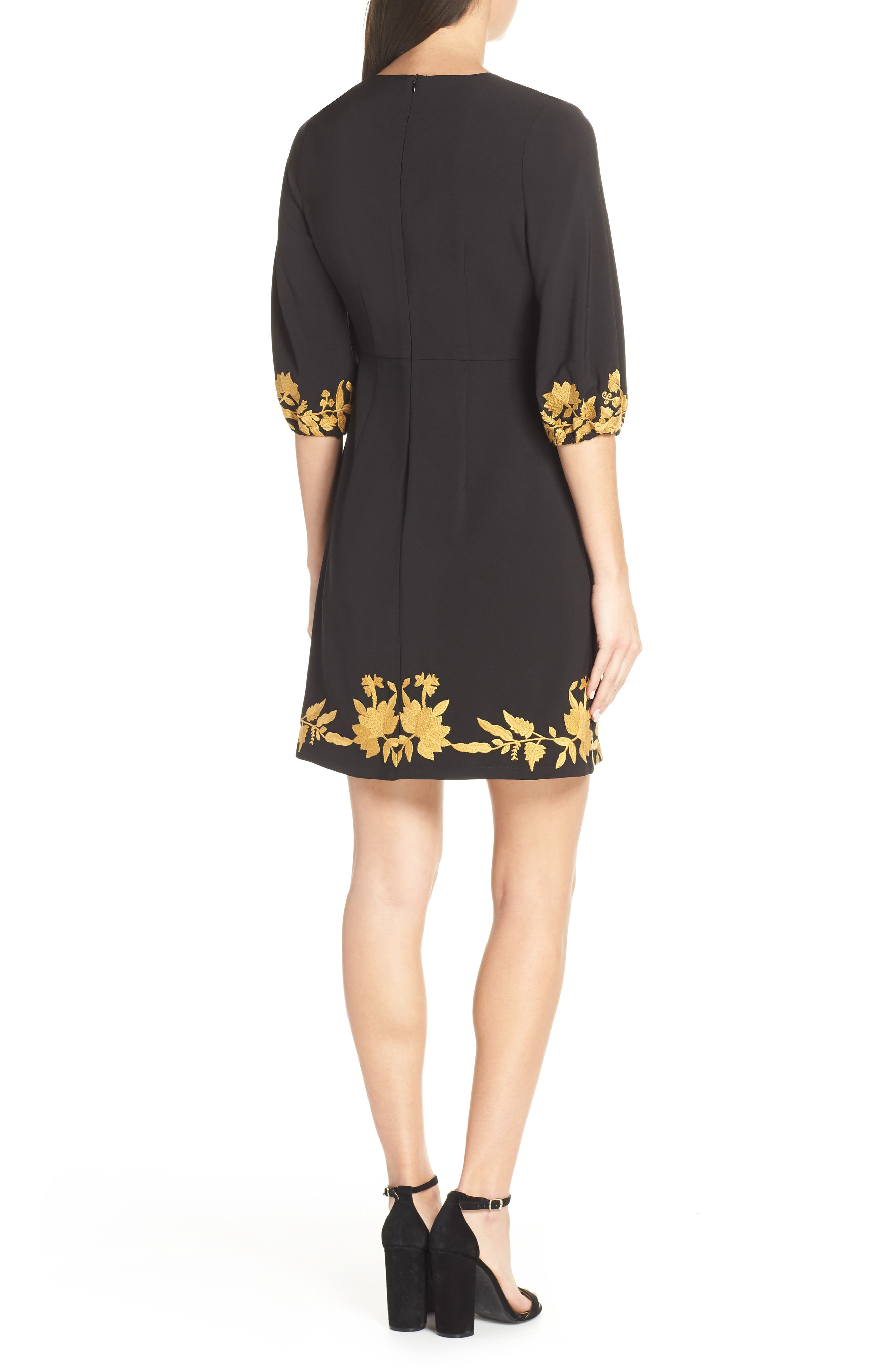 FOXIEDOX, Melia Embroidered Cocktail Dress, Alternate thumbnail 2, color, 001