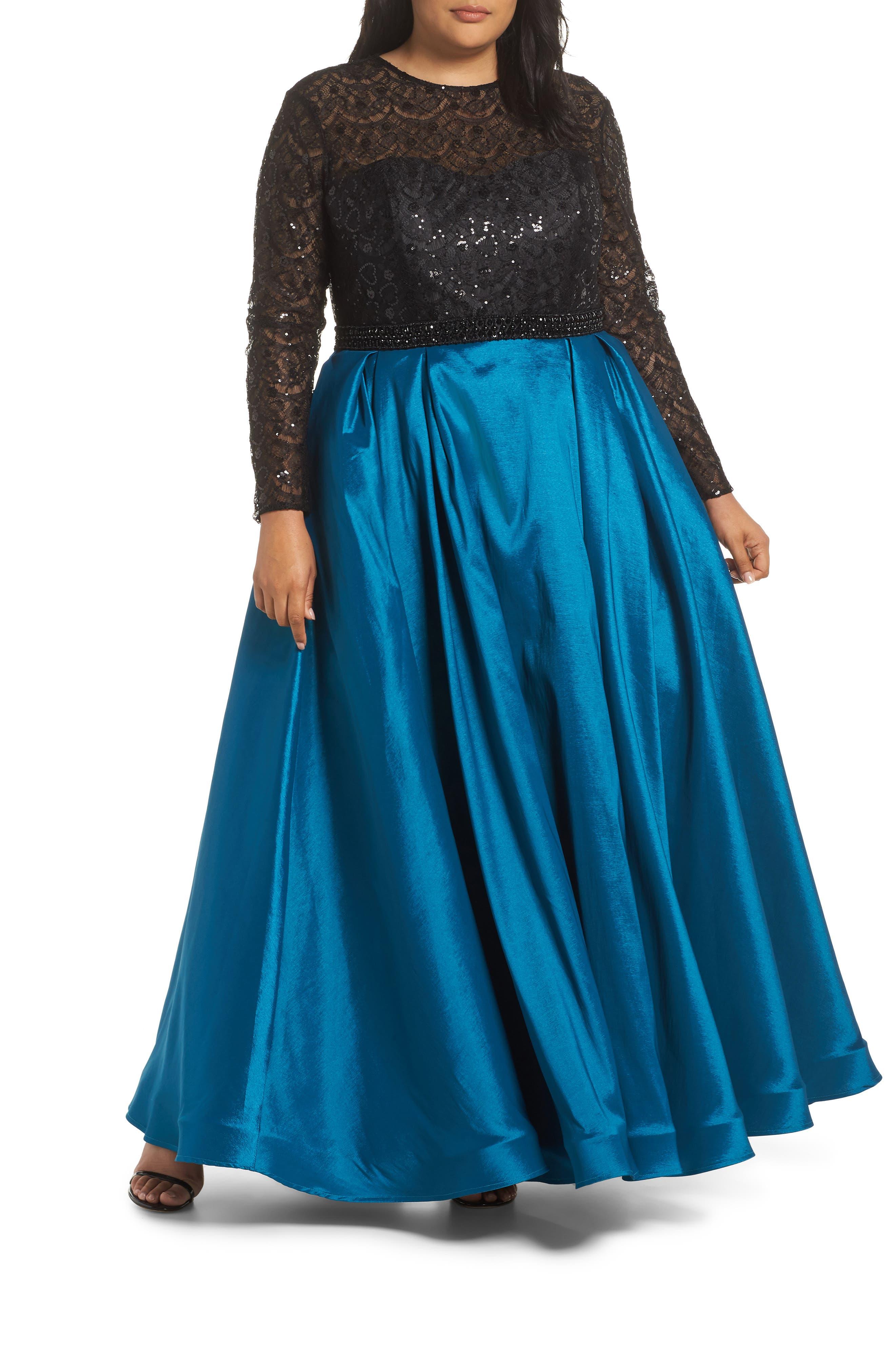 Plus Size MAC Duggal Embellished Taffeta Ballgown, Blue