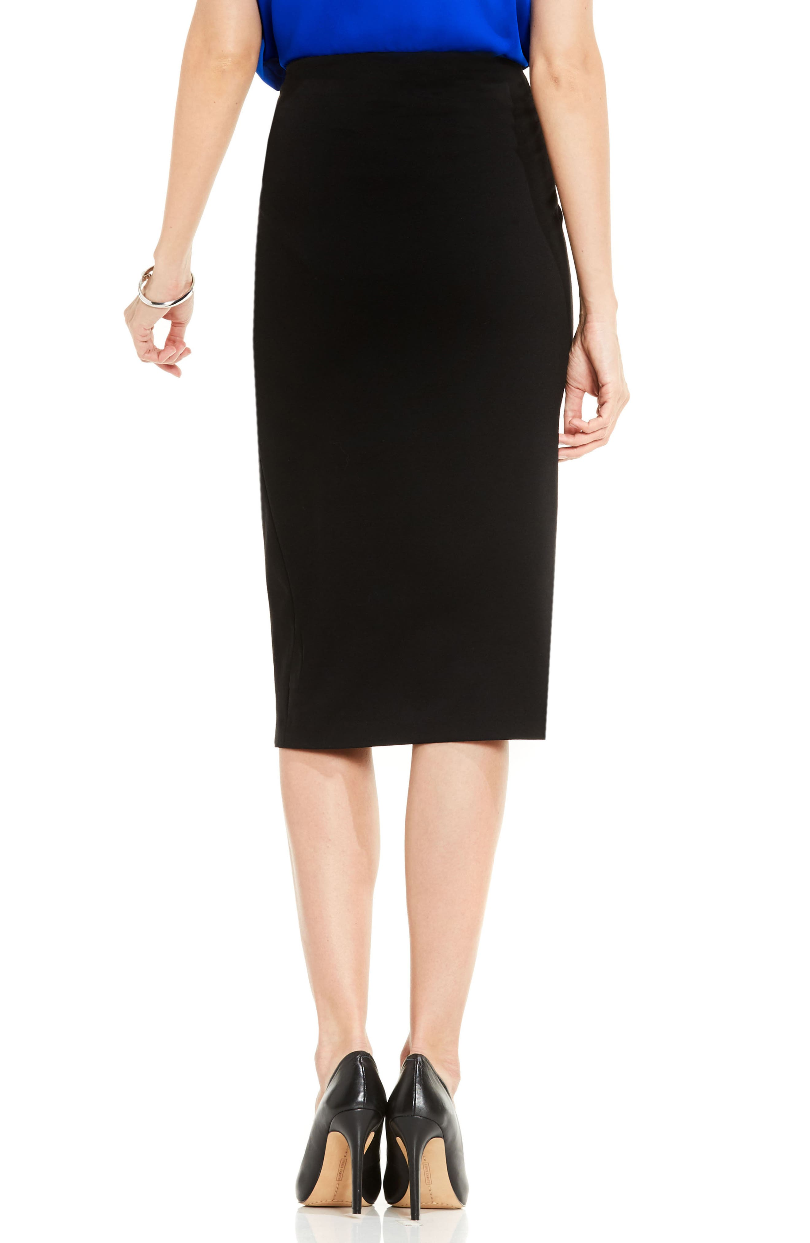 VINCE CAMUTO, Pull-On Pencil Skirt, Alternate thumbnail 2, color, RICH BLACK