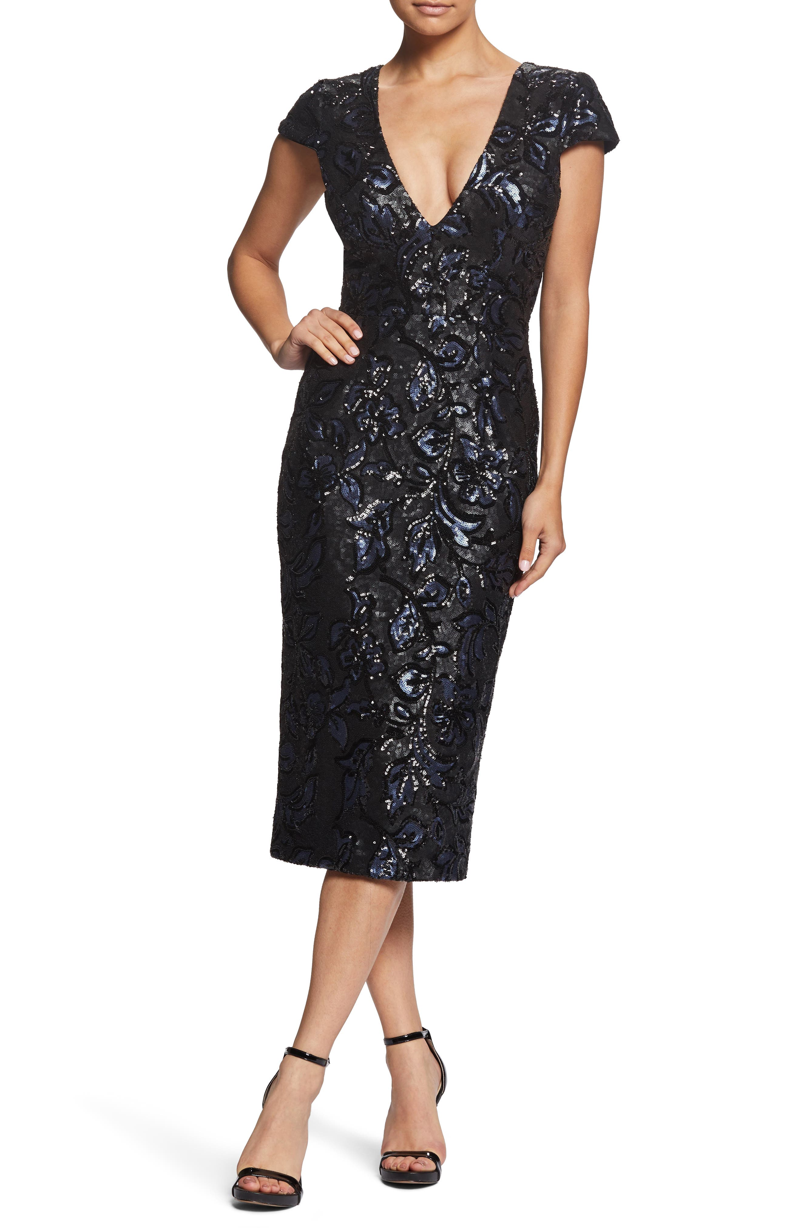 DRESS THE POPULATION, Allison Sequin Brocade Plunging V-Neck Cocktail Sheath, Main thumbnail 1, color, BLACK/ NAVY