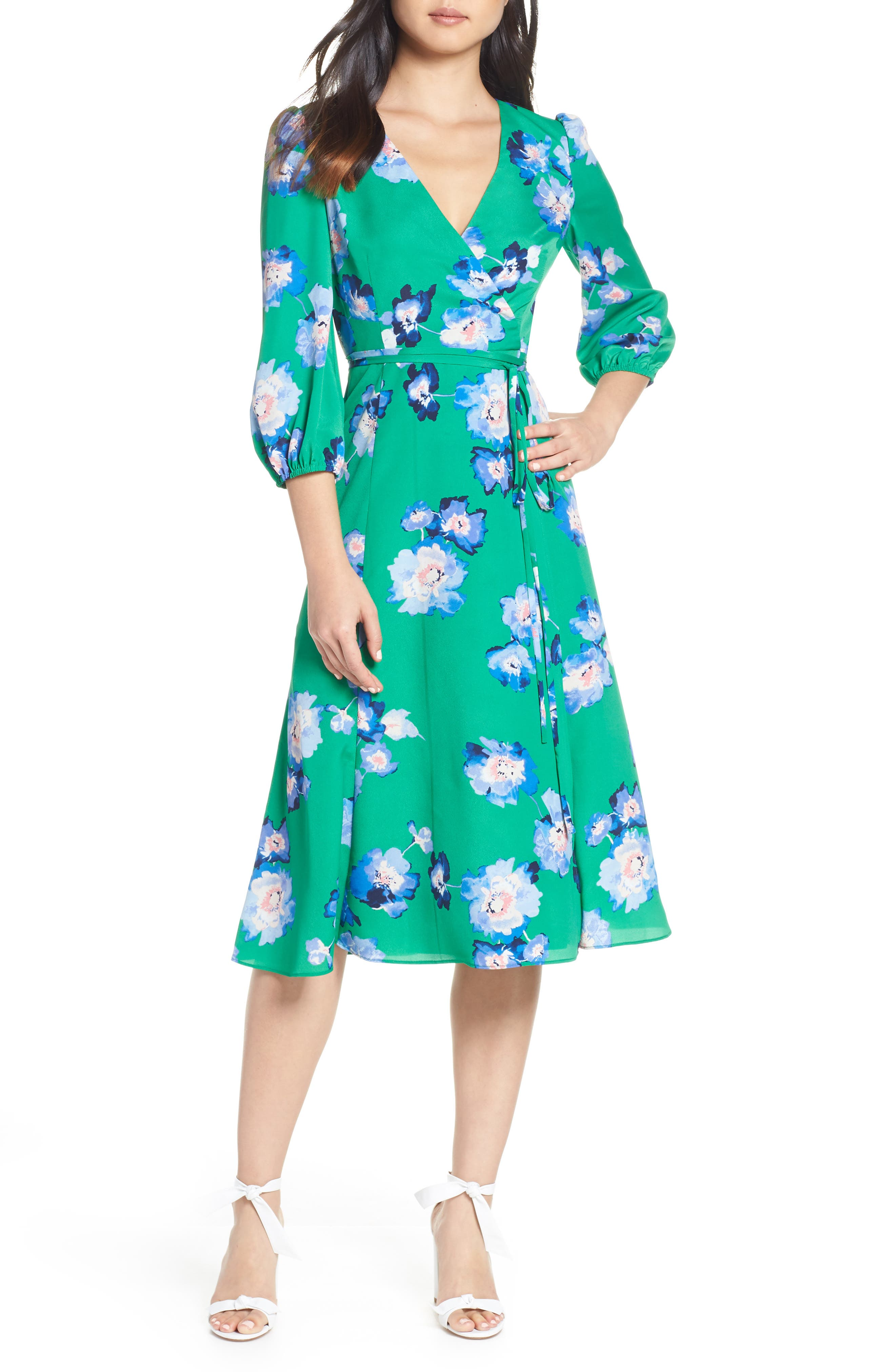 ELIZA J, Blouson Sleeve Wrap Midi Dress, Main thumbnail 1, color, GREEN