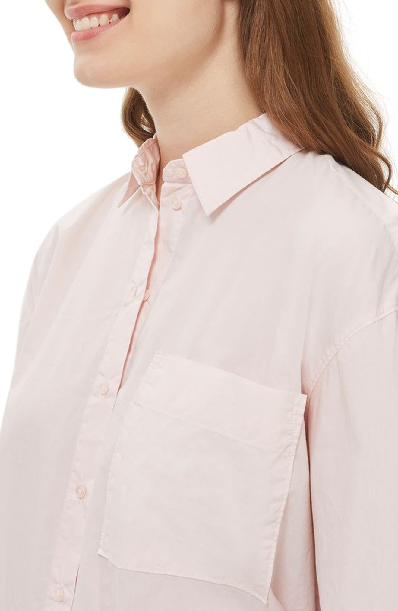 TOPSHOP, Olly Oversize Poplin Shirt, Alternate thumbnail 3, color, 680