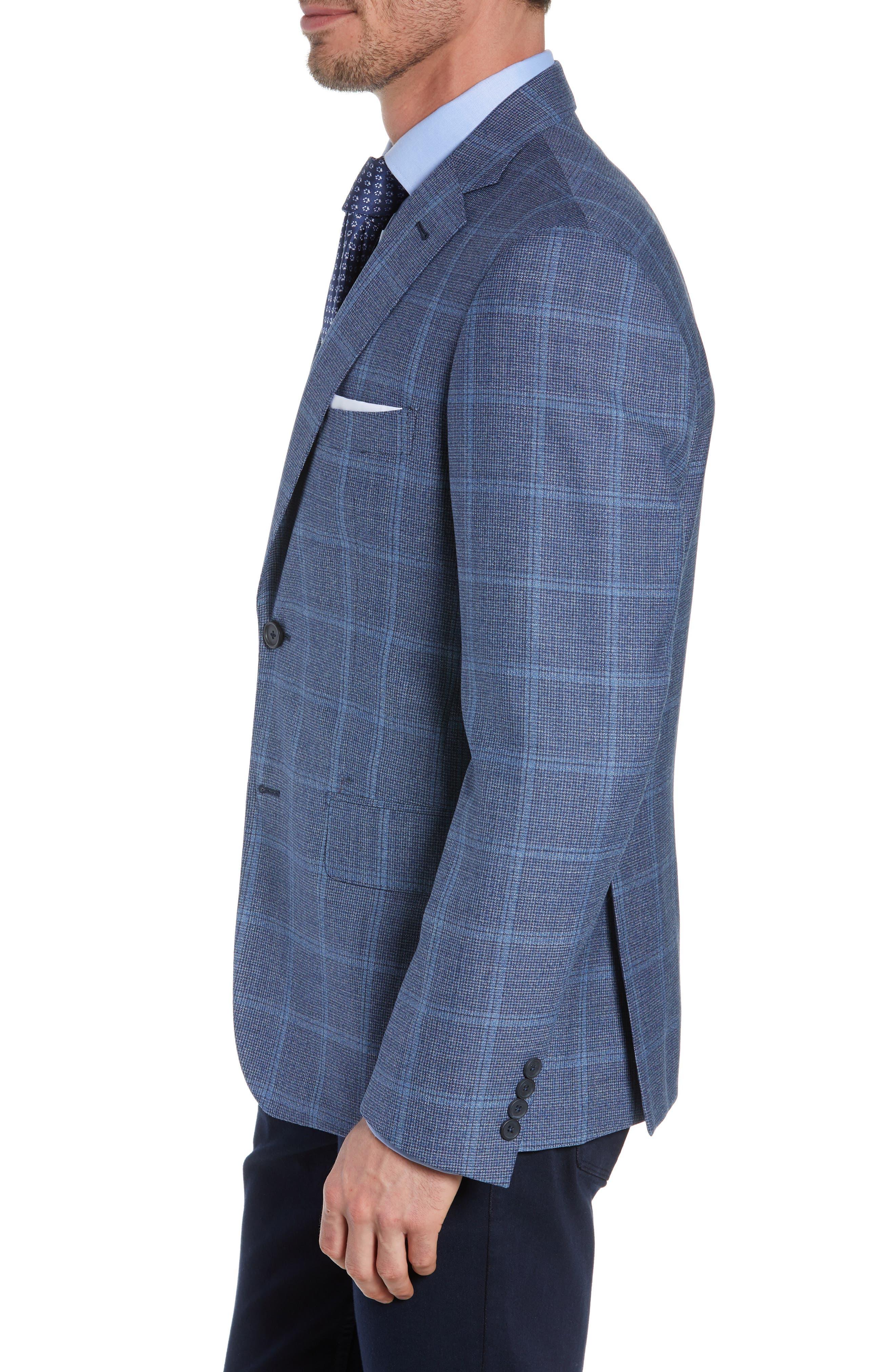 JOHN W. NORDSTROM<SUP>®</SUP>, Traditional Fit Windowpane Wool Sport Coat, Alternate thumbnail 4, color, BLUE DARK NAVY WINDOWPANE