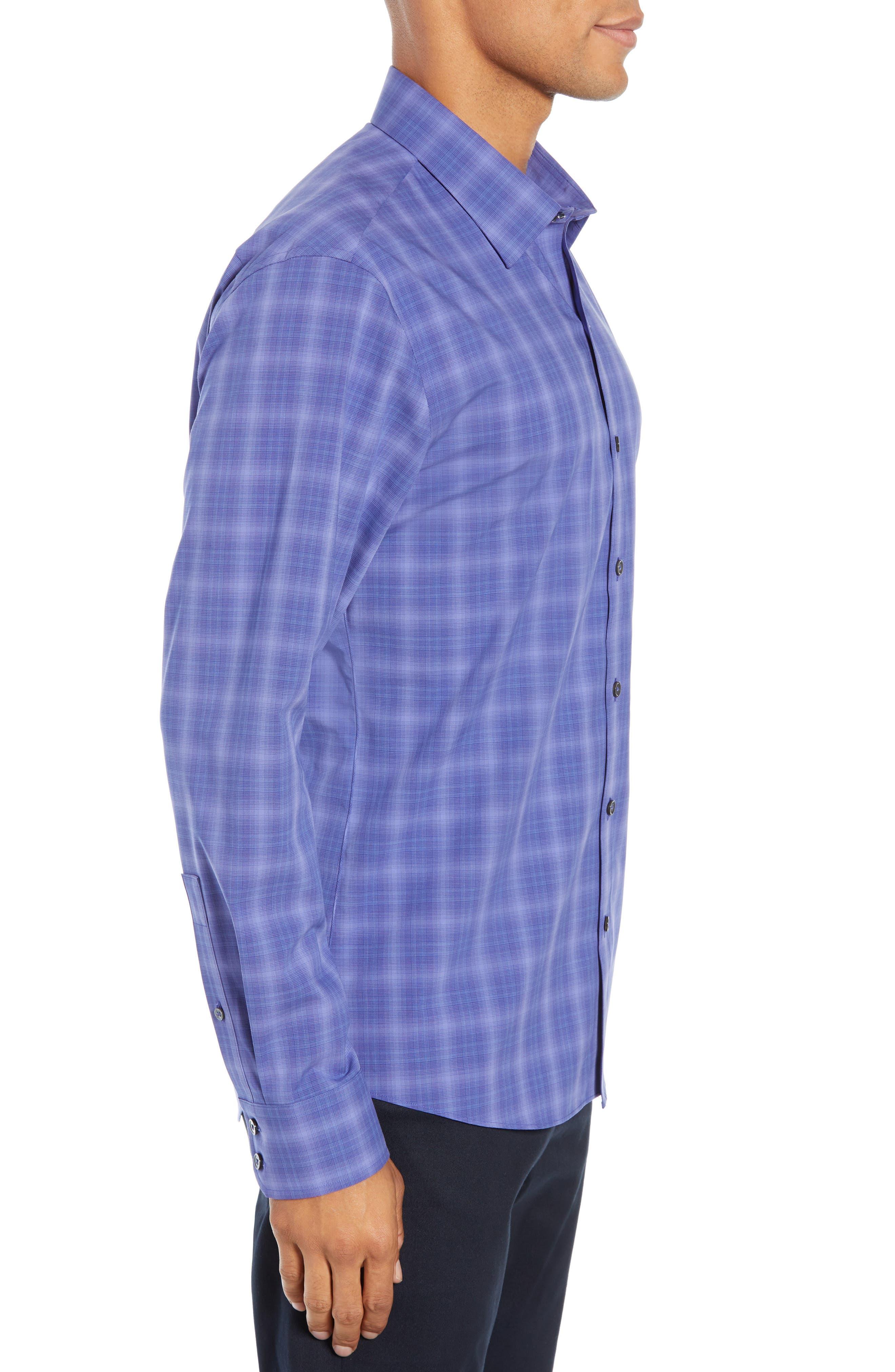ZACHARY PRELL, Wandy Regular Fit Check Sport Shirt, Alternate thumbnail 4, color, LIGHT PURPLE