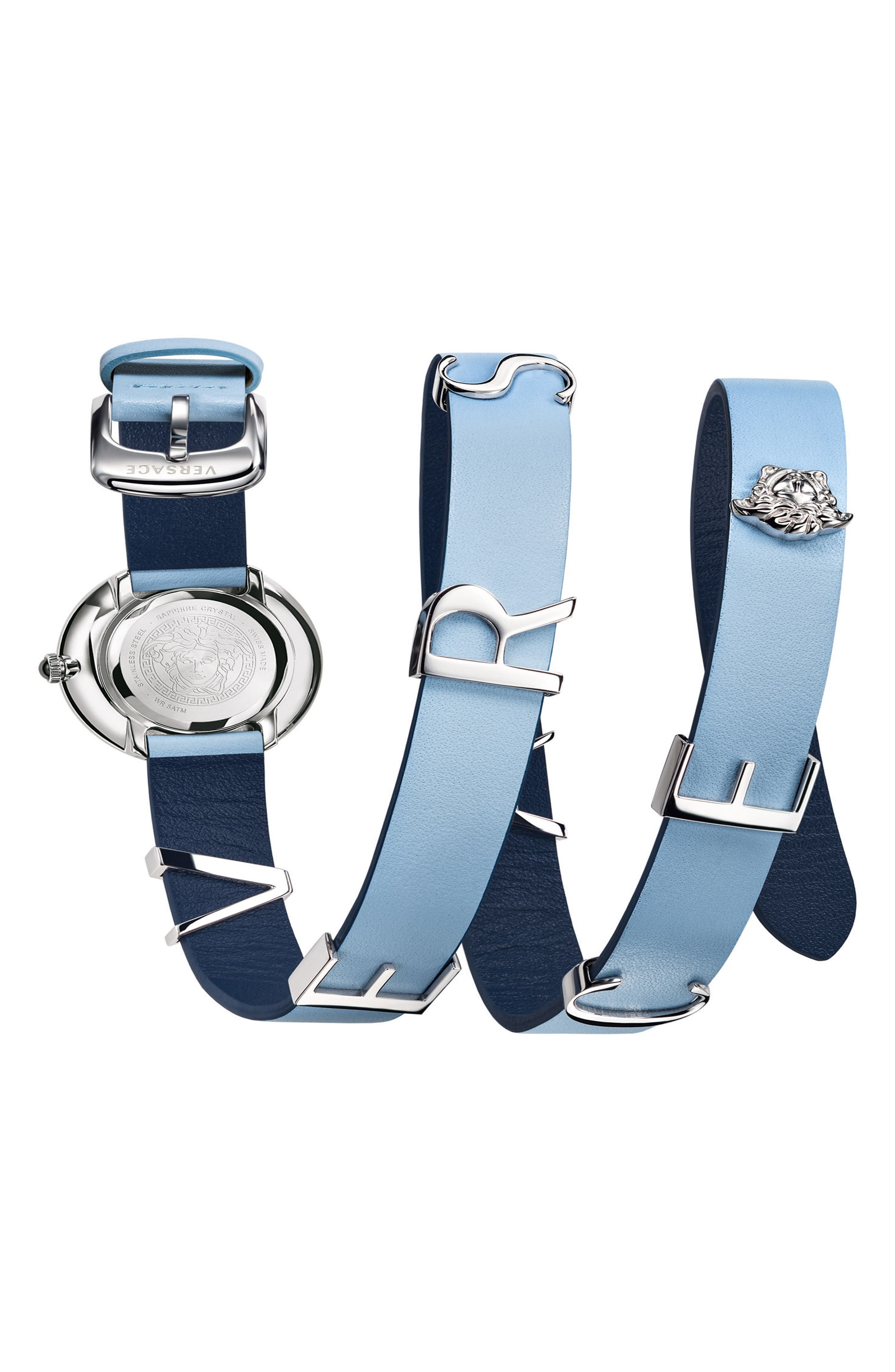 VERSACE, V-Flare Double Wrap Leather Strap Watch, 28mm, Alternate thumbnail 2, color, BLUE/ SILVER/ GOLD