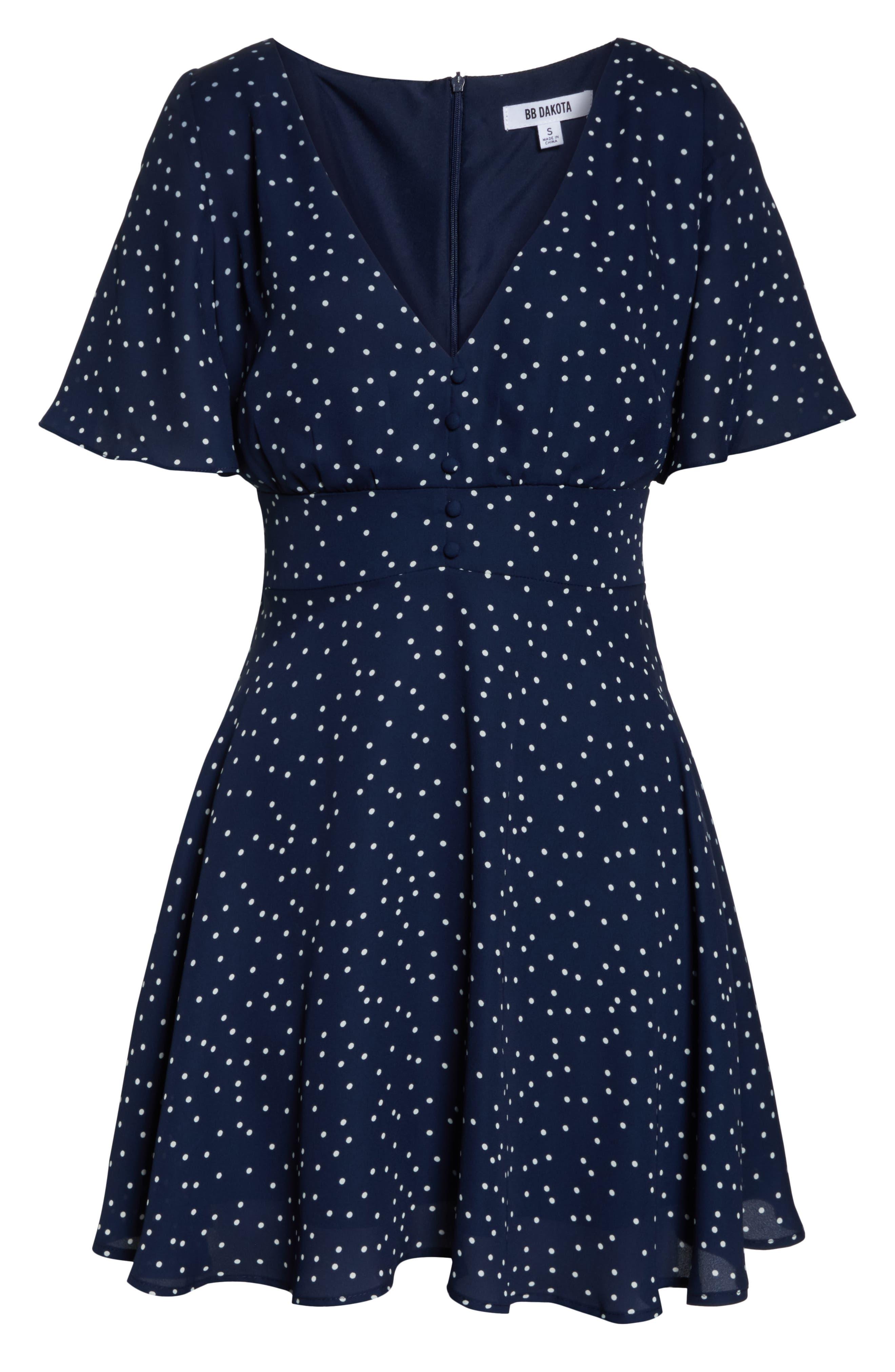 BB DAKOTA, La La Land Dot Flutter Dress, Alternate thumbnail 7, color, OIL SLICK