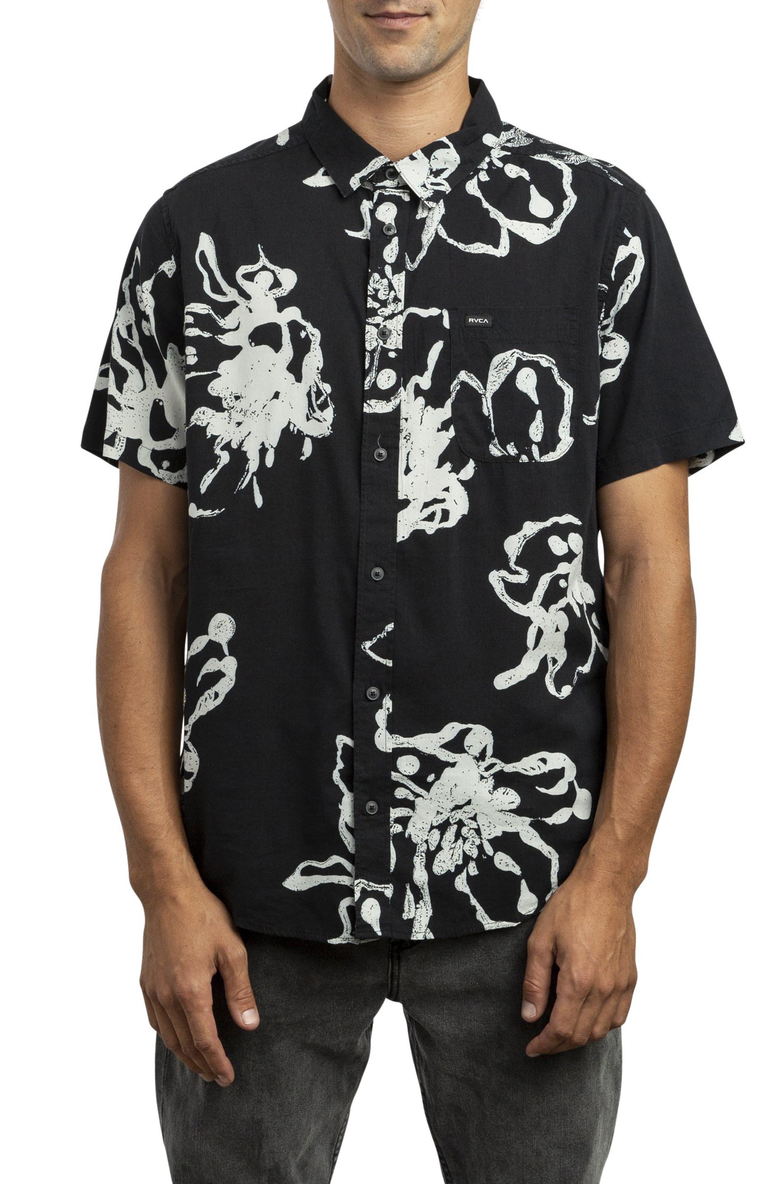 RVCA, Vaughn Linear Woven Shirt, Main thumbnail 1, color, BLACK