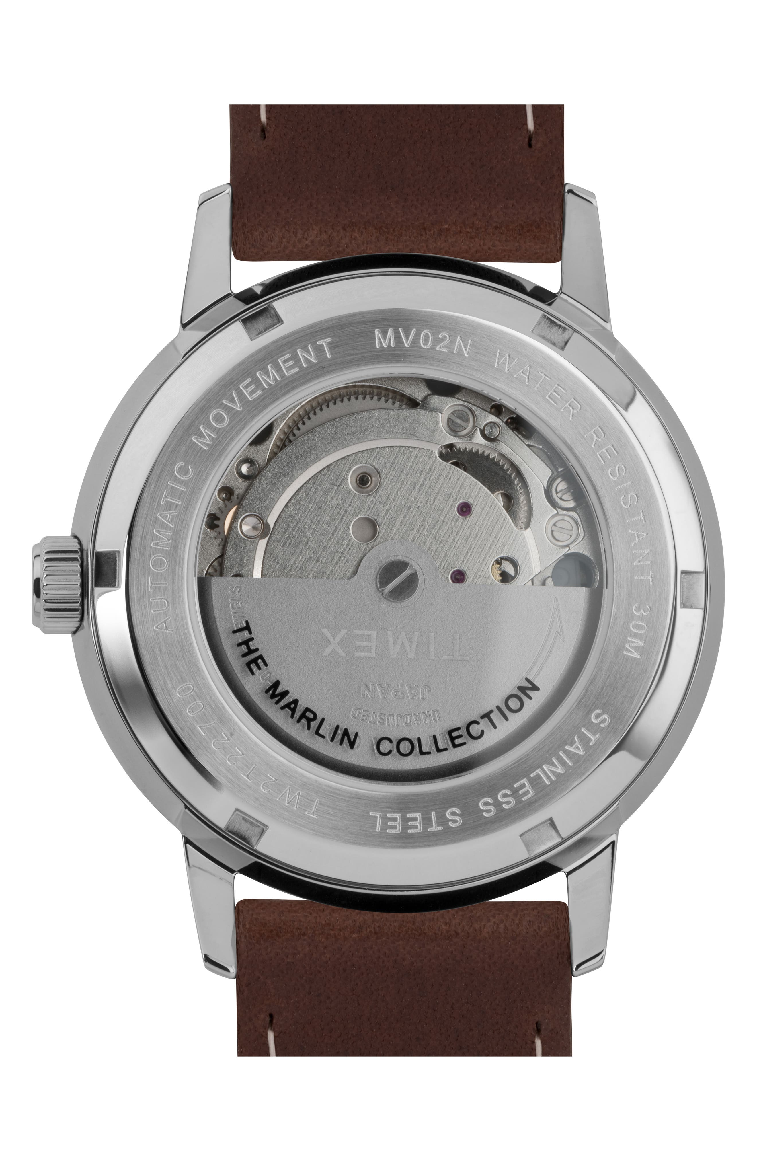 TIMEX<SUP>®</SUP>, Marlin Automatic Leather Strap Watch, 40mm, Alternate thumbnail 2, color, SILVER/ SILVER/ BROWN