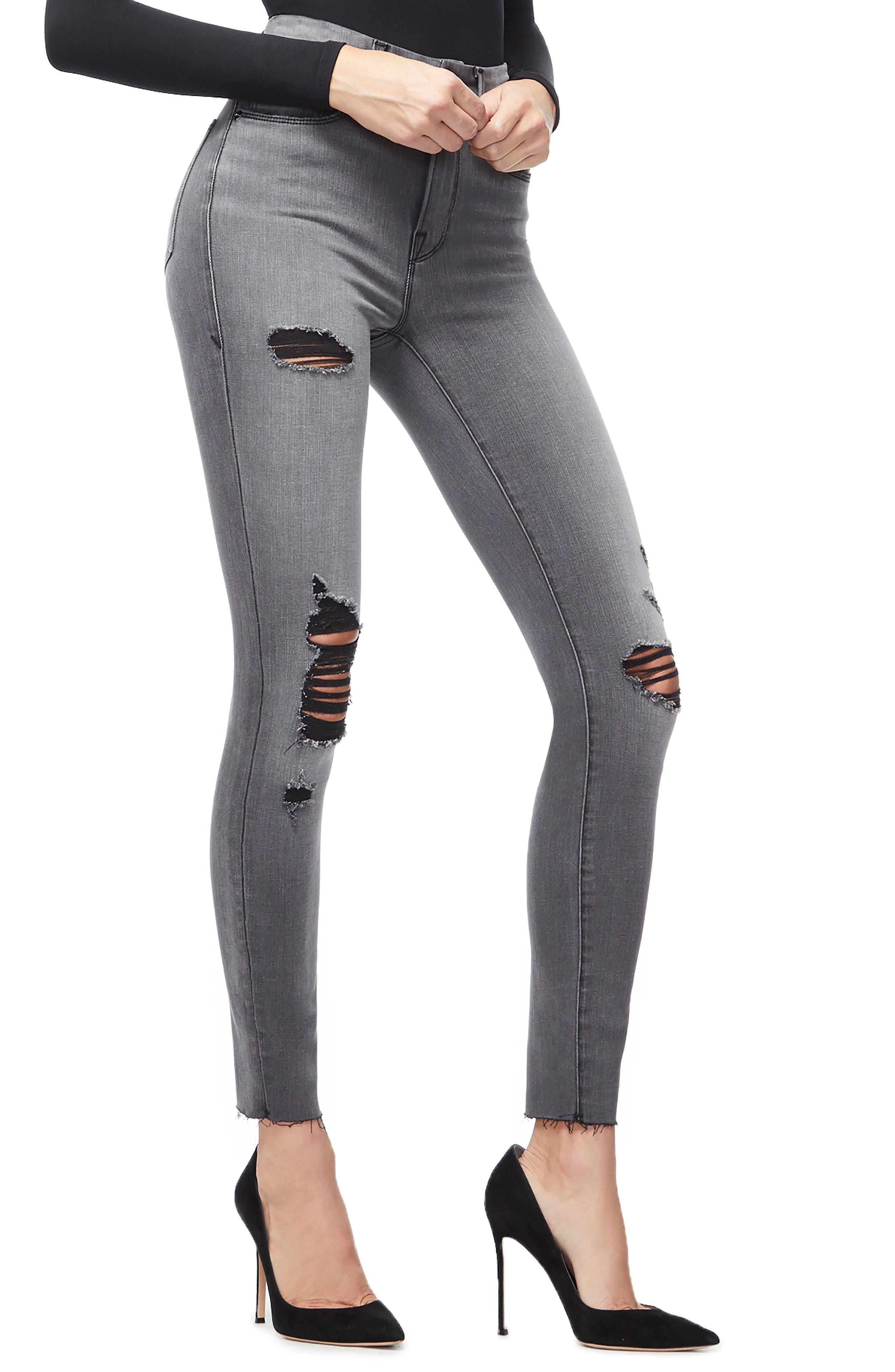 GOOD AMERICAN, Good Waist Ripped High Waist Skinny Jeans, Alternate thumbnail 5, color, BLACK044