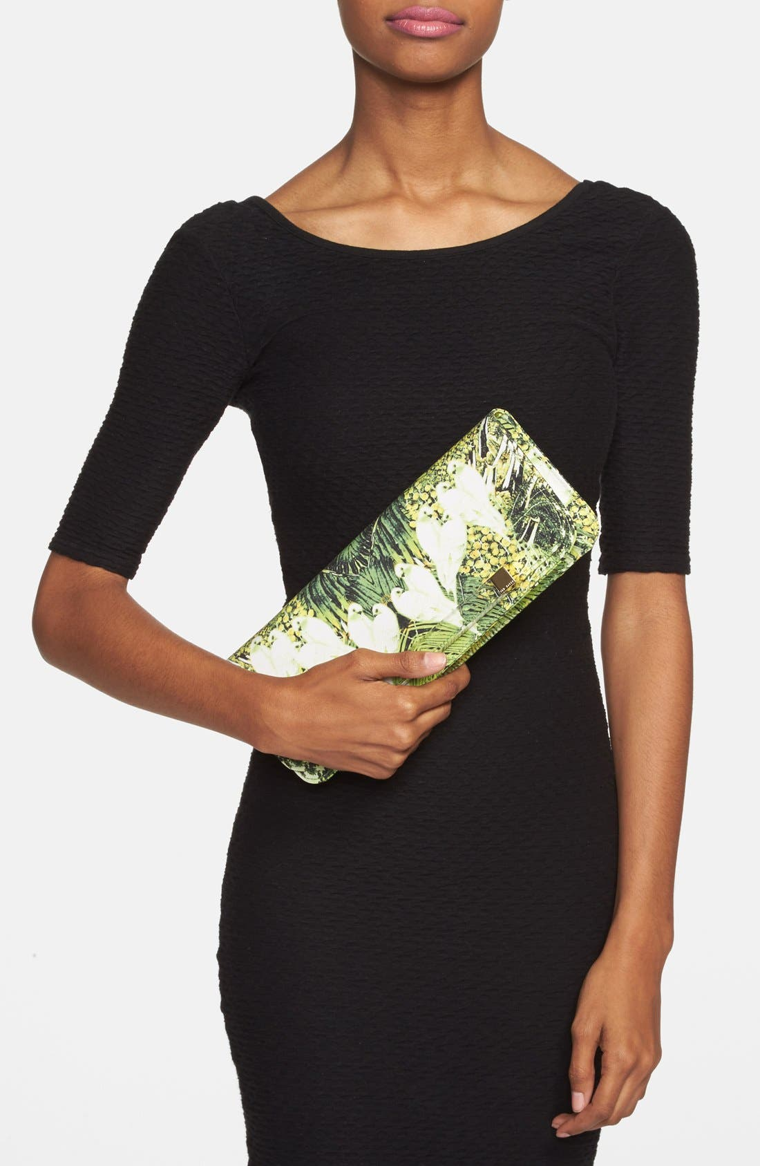 TED BAKER LONDON, 'Tropical Dove' Clutch, Alternate thumbnail 3, color, 300