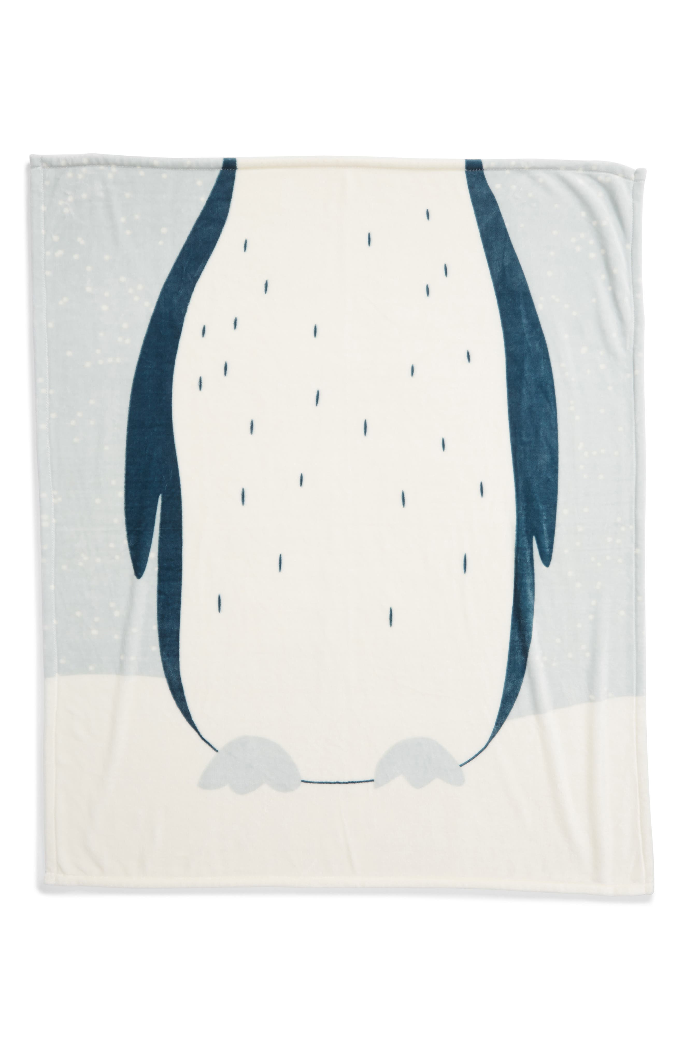 NORDSTROM AT HOME, Penguin Suit Plush Throw, Alternate thumbnail 3, color, 440