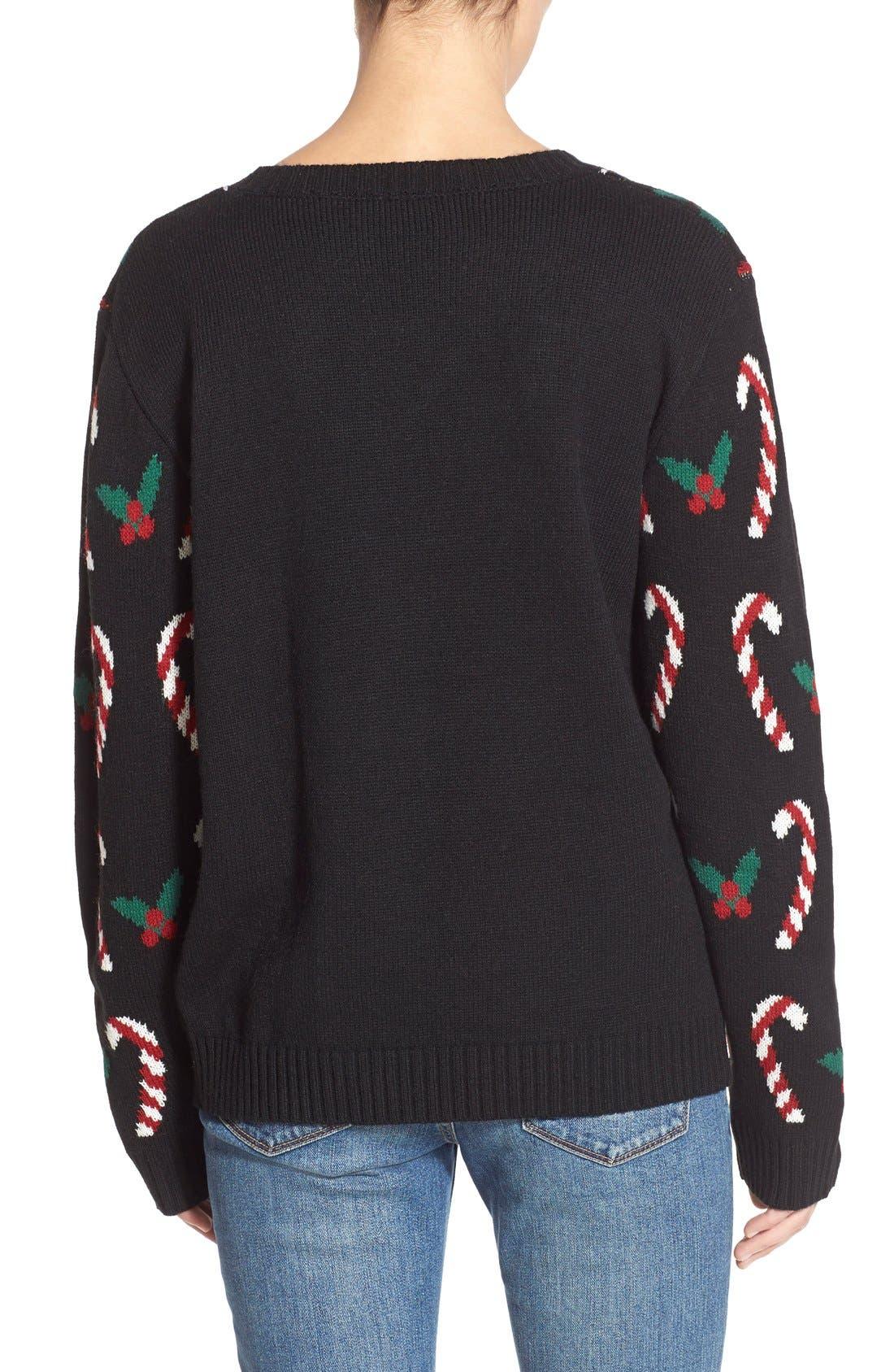 LOVE BY DESIGN, Mistletoe Reindeer Christmas Sweater, Alternate thumbnail 4, color, 016