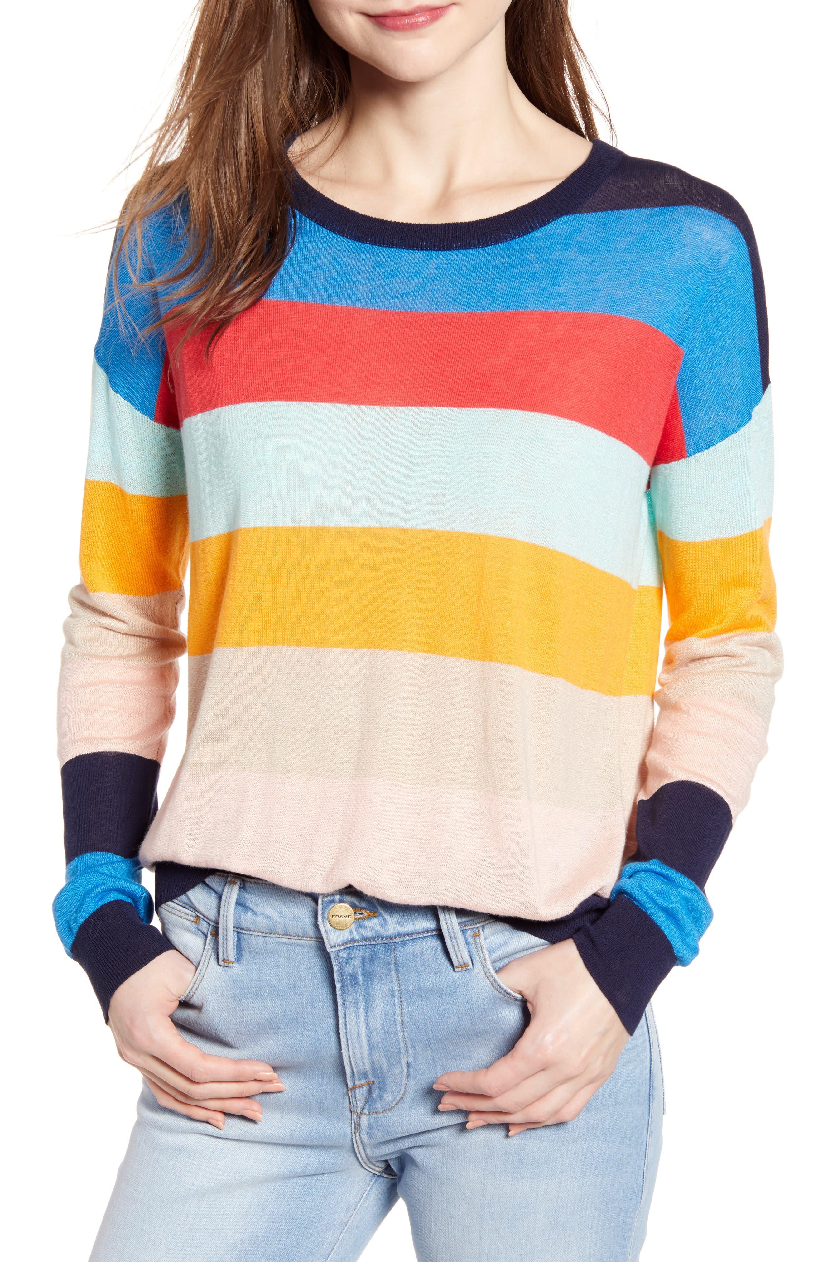 SPLENDID, Sunray Colorblock Sweater, Main thumbnail 1, color, BONFIRE MULTI