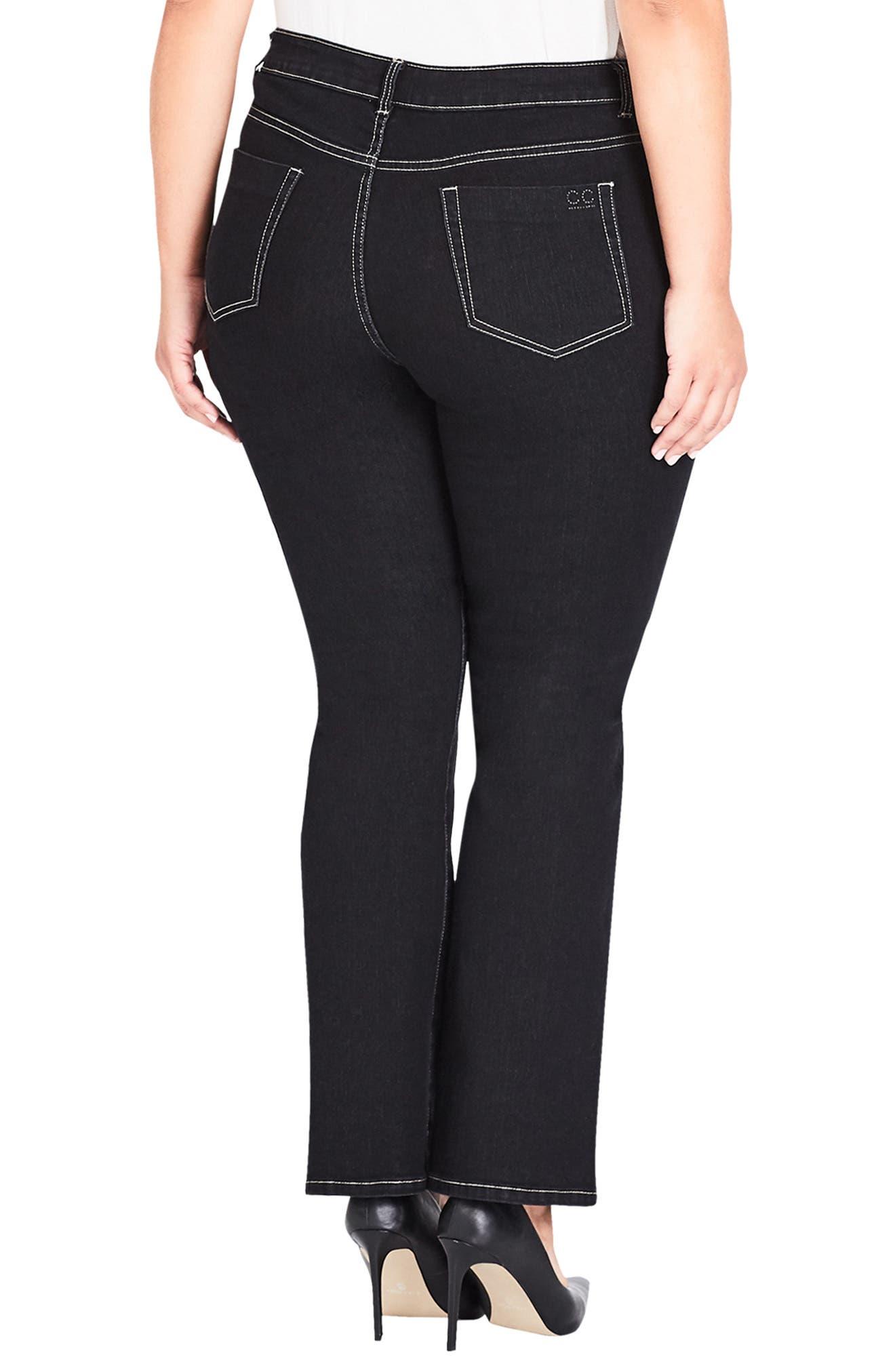 CITY CHIC, Regular Fit Bootcut Jeans, Alternate thumbnail 2, color, BLACK