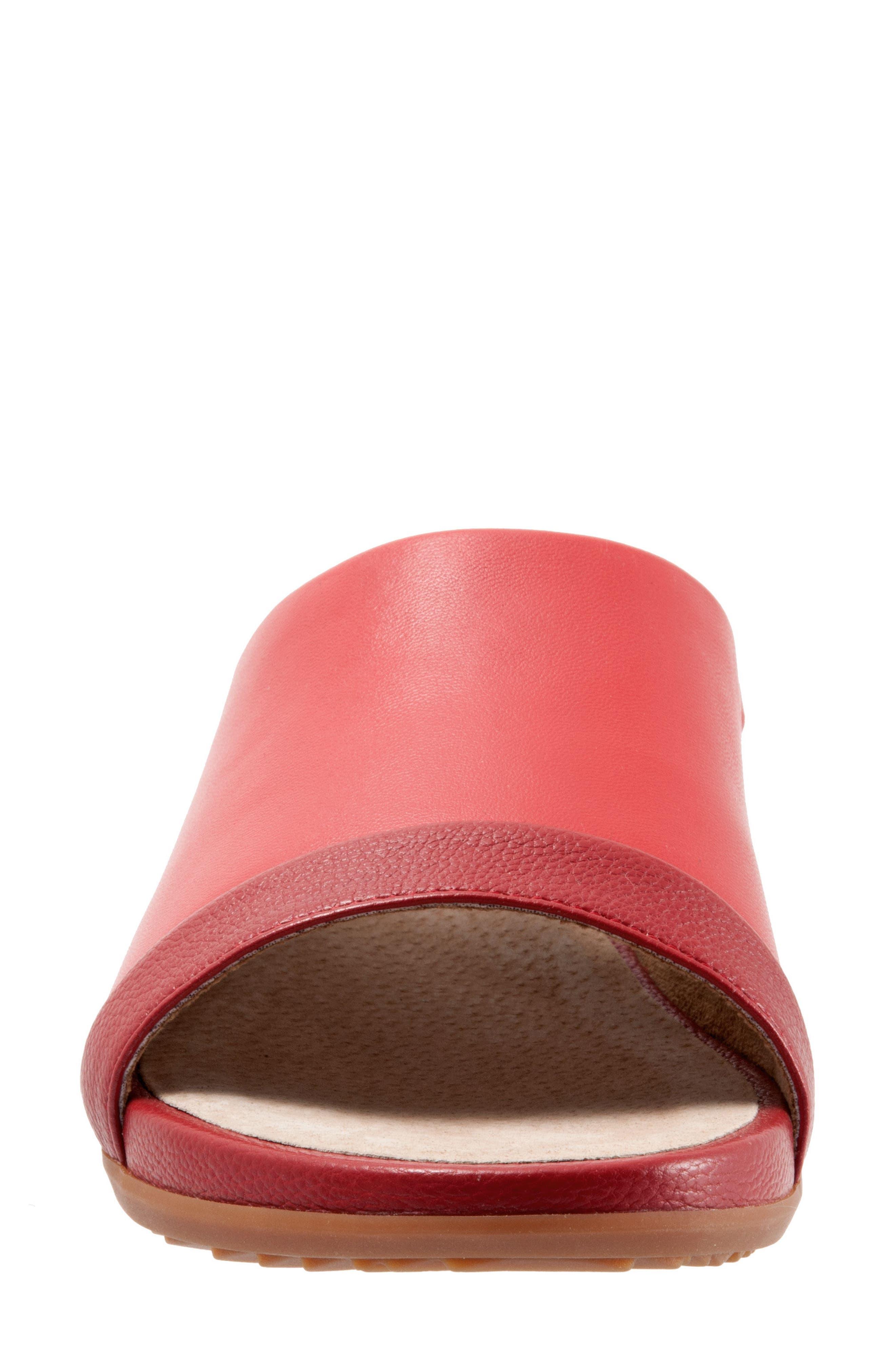 SOFTWALK<SUP>®</SUP>, Del Mar Slide Sandal, Alternate thumbnail 4, color, RED LEATHER