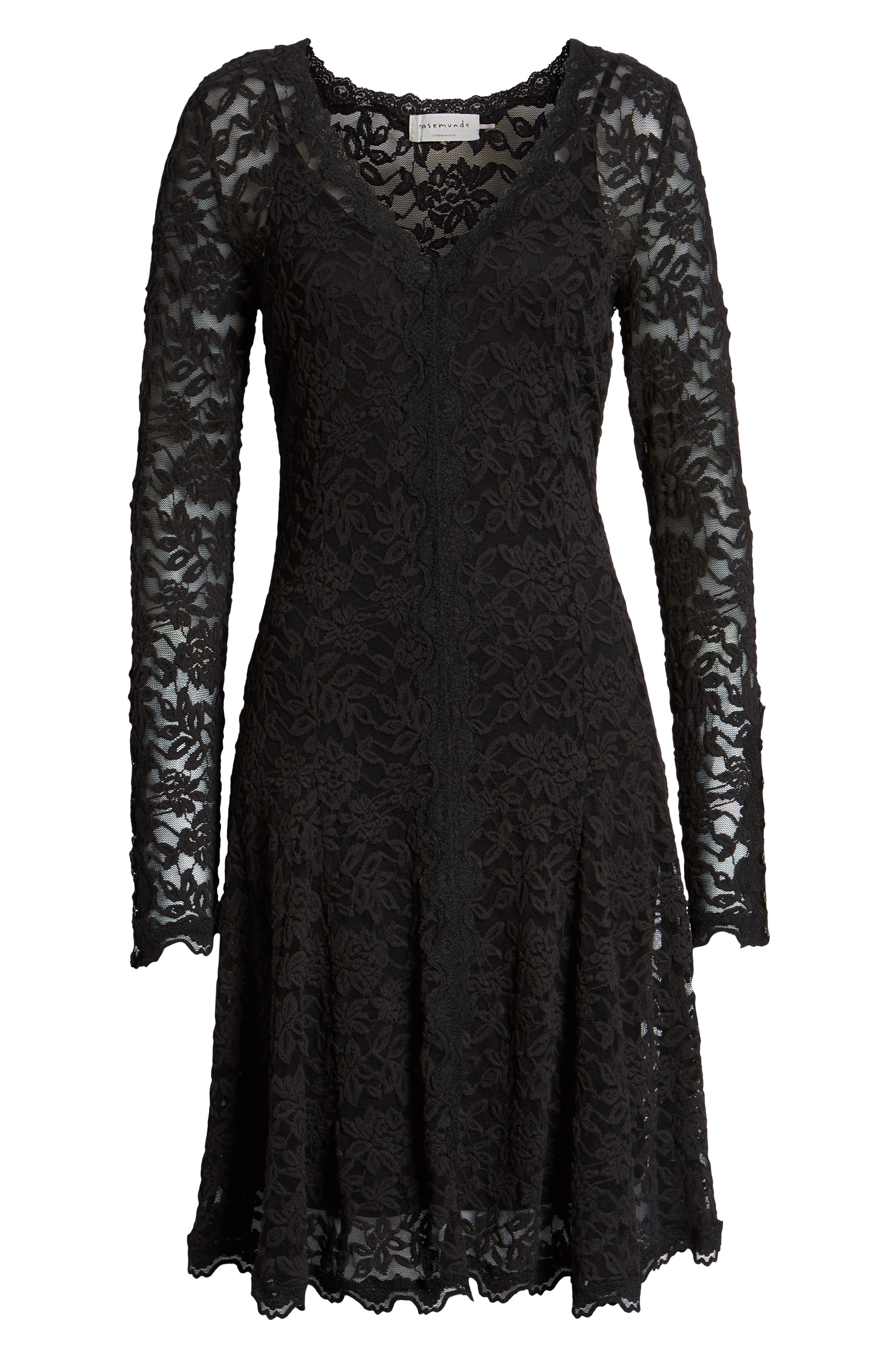 ROSEMUNDE, Delicia Fit & Flare Lace Dress, Alternate thumbnail 7, color, BLACK
