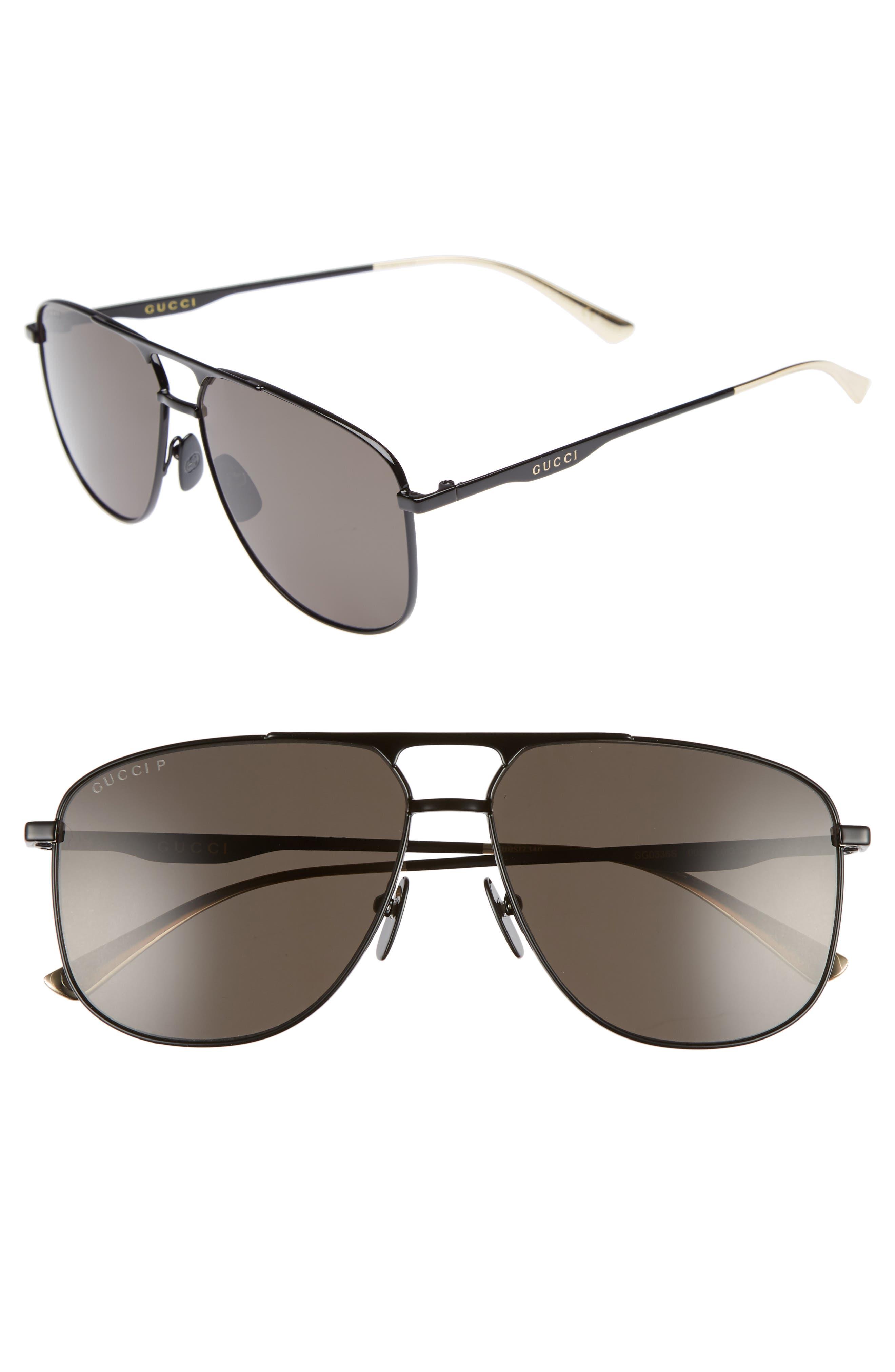 GUCCI, 80s Monocolor 60mm Polarized Aviator Sunglasses, Main thumbnail 1, color, BLACK