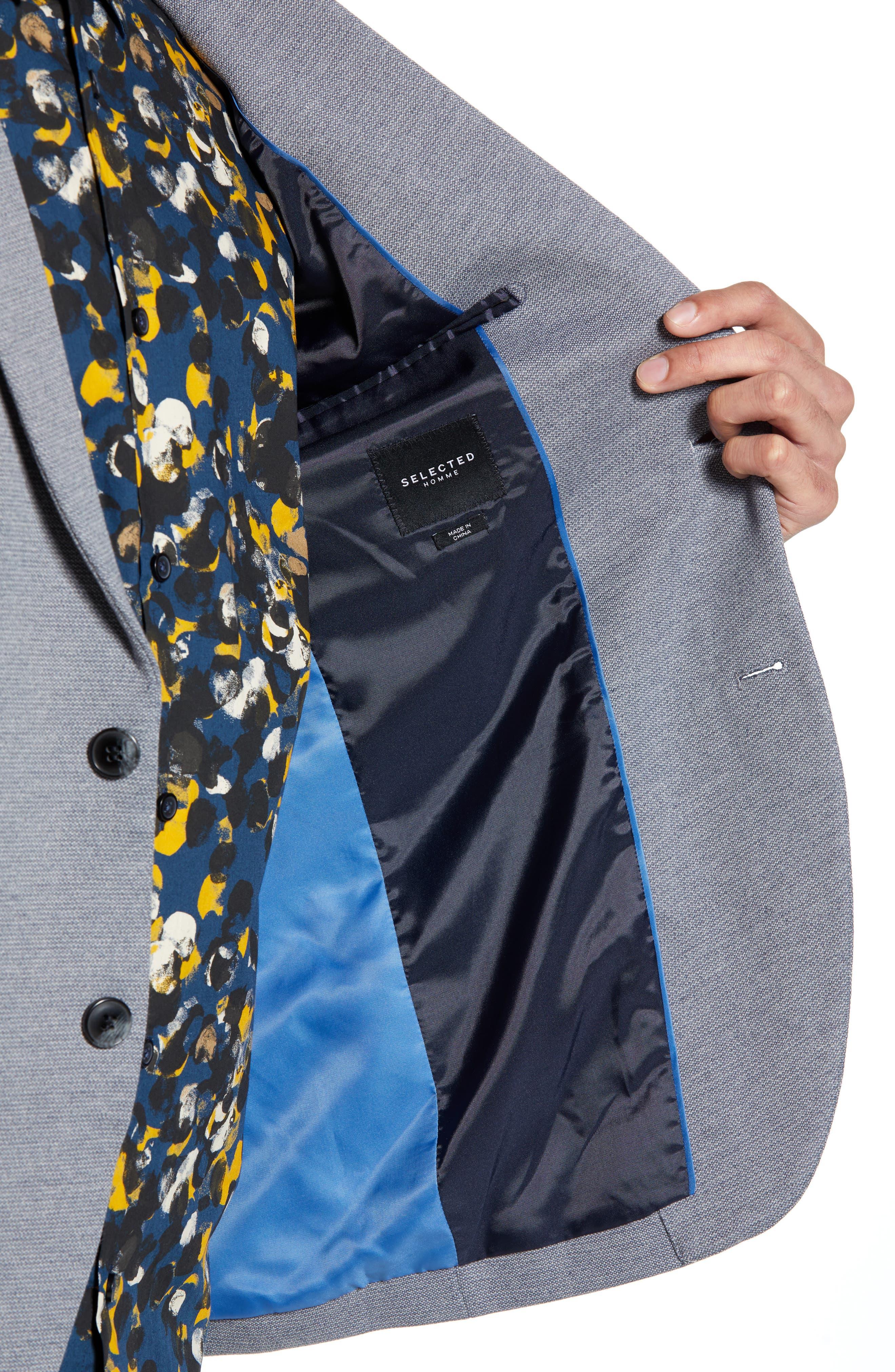 SELECTED HOMME, Slim Fit Sport Coat, Alternate thumbnail 5, color, GREY MELANGE