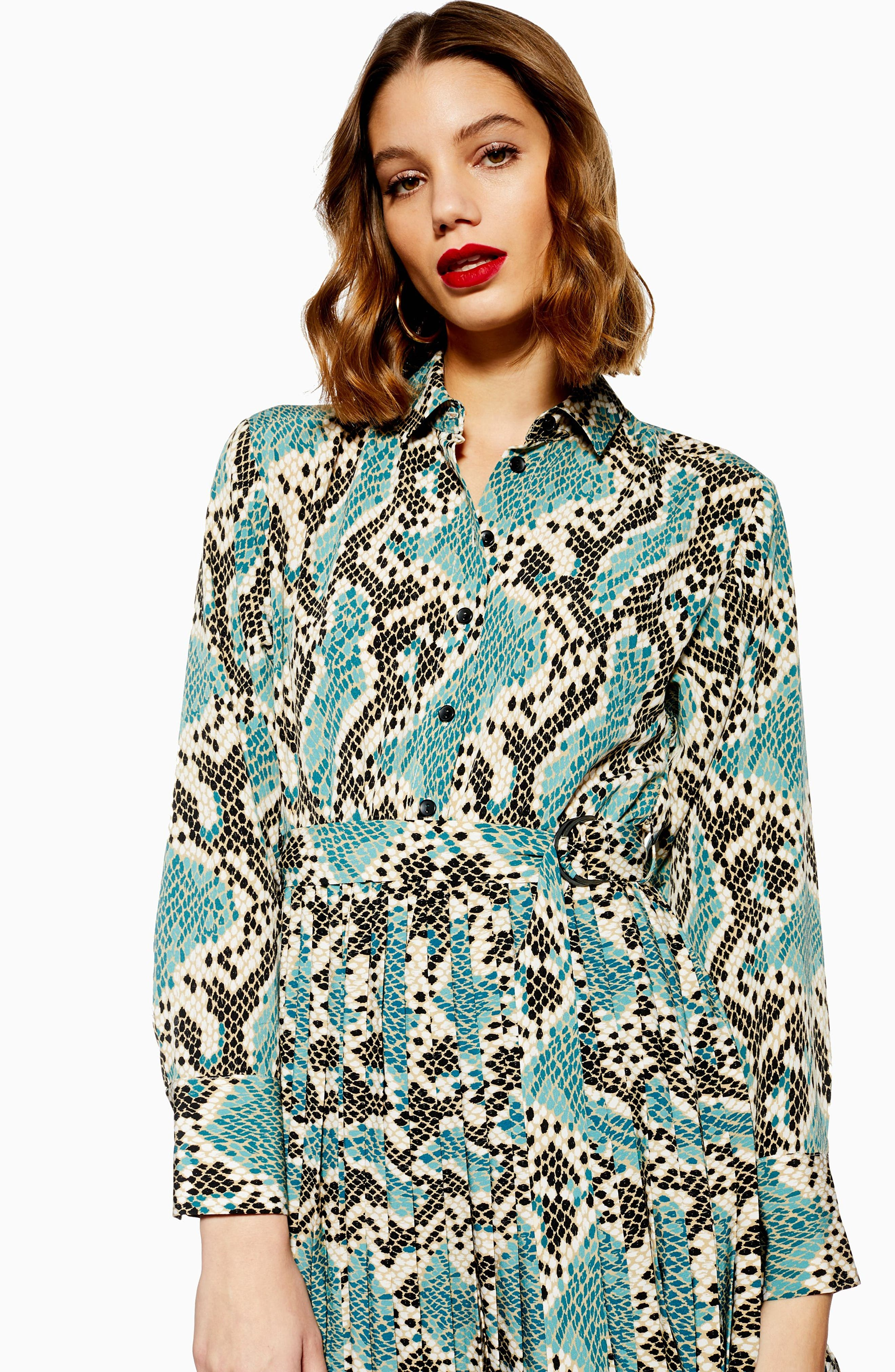 TOPSHOP, Python Pleated Shirtdress, Alternate thumbnail 5, color, BLUE MULTI