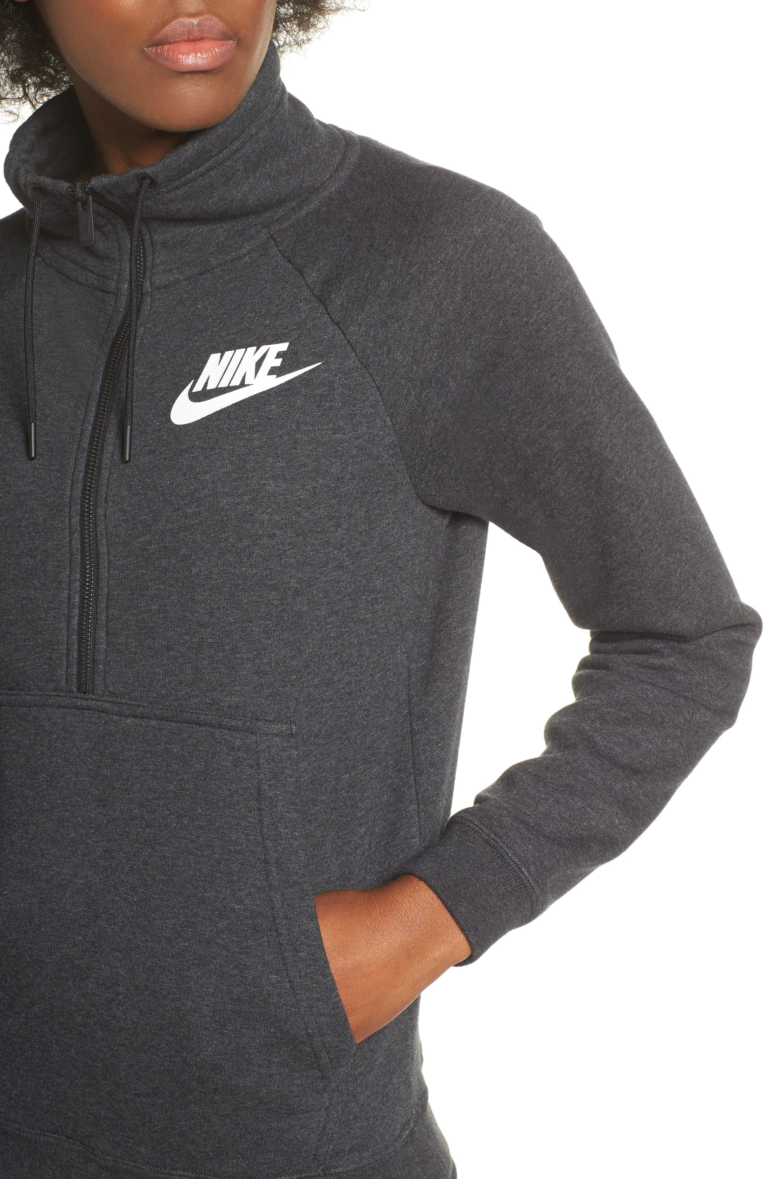 NIKE, NSW Rally Half-Zip Top, Alternate thumbnail 5, color, 002