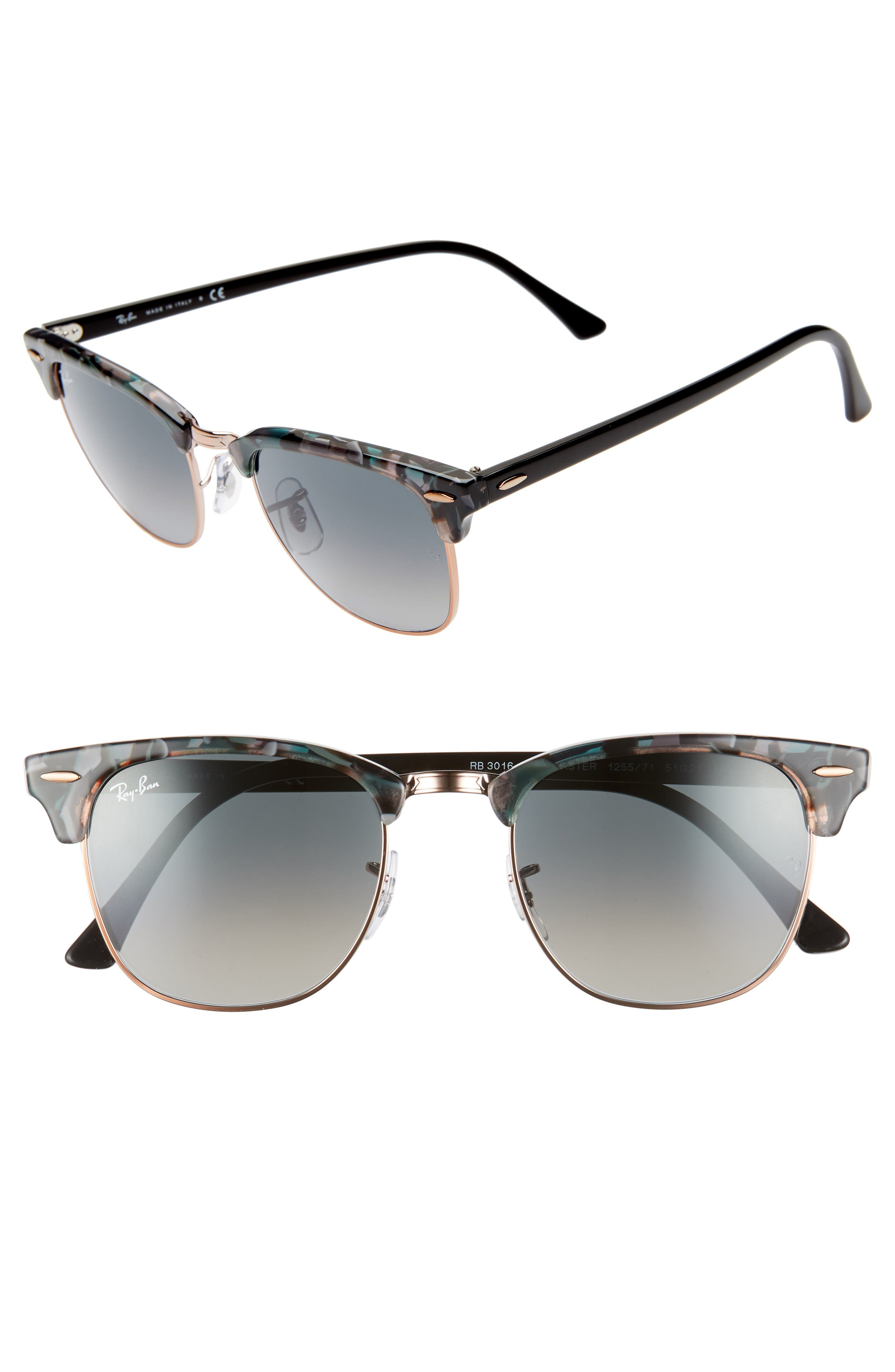 RAY-BAN, Clubmaster 51mm Gradient Sunglasses, Main thumbnail 1, color, GREY/ GREEN GRADIENT