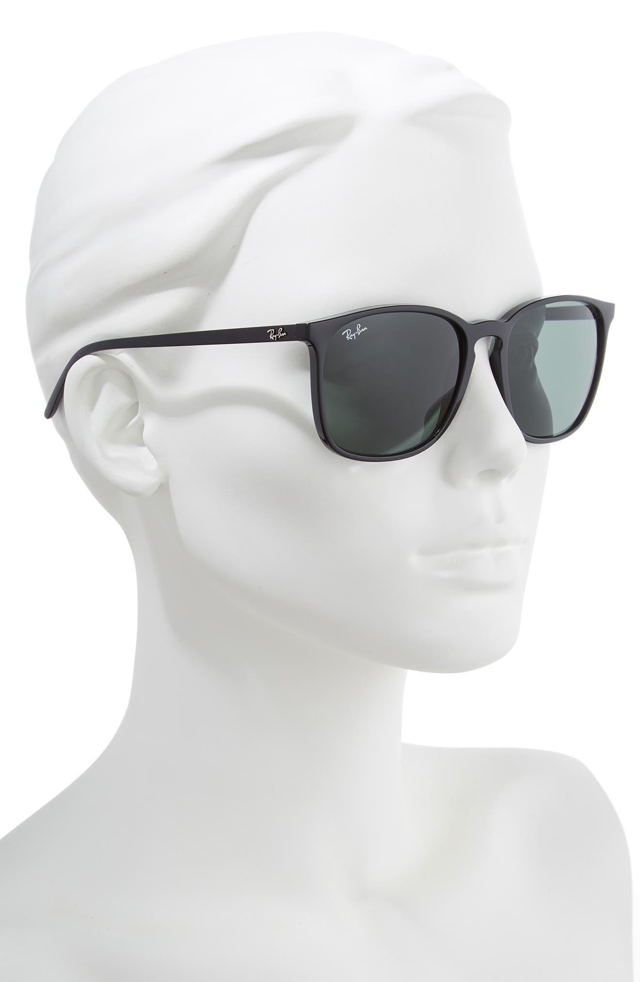 RAY-BAN, 56mm Sunglasses, Alternate thumbnail 2, color, BLACK/ GREEN SOLID