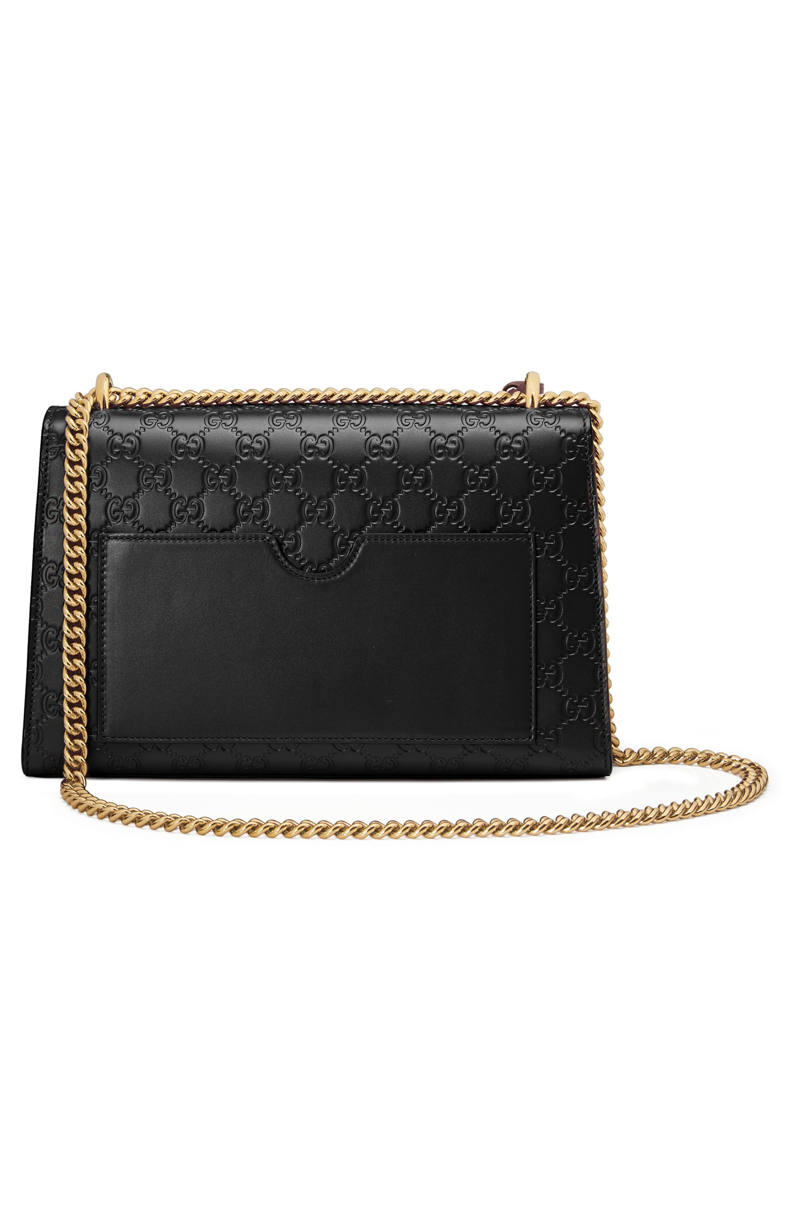 GUCCI, Medium Padlock Signature Leather Shoulder Bag, Alternate thumbnail 2, color, NERO