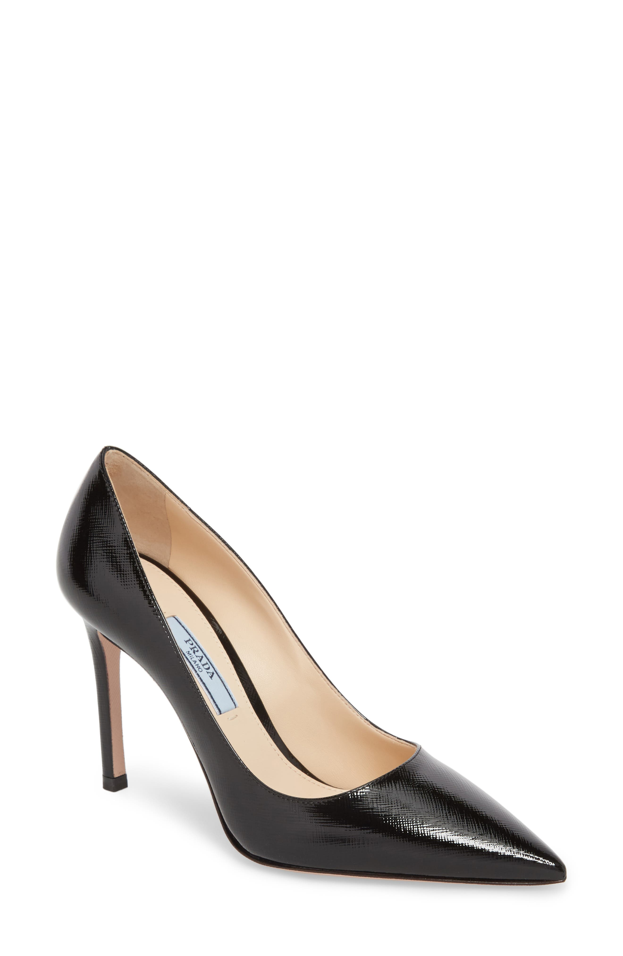 PRADA Pointy Toe Pump, Main, color, BLACK