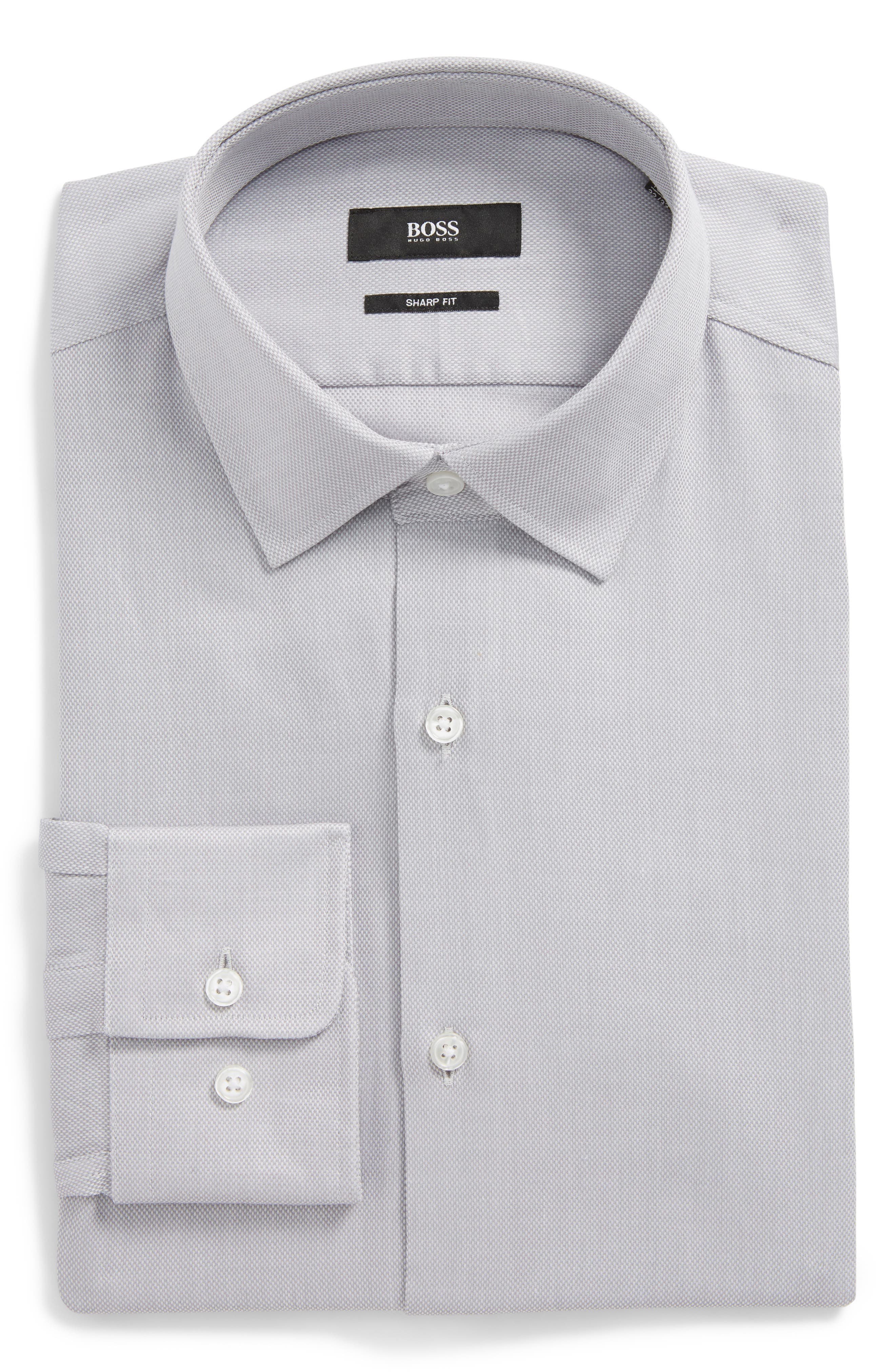 BOSS, Marley Sharp Fit Dress Shirt, Main thumbnail 1, color, GREY