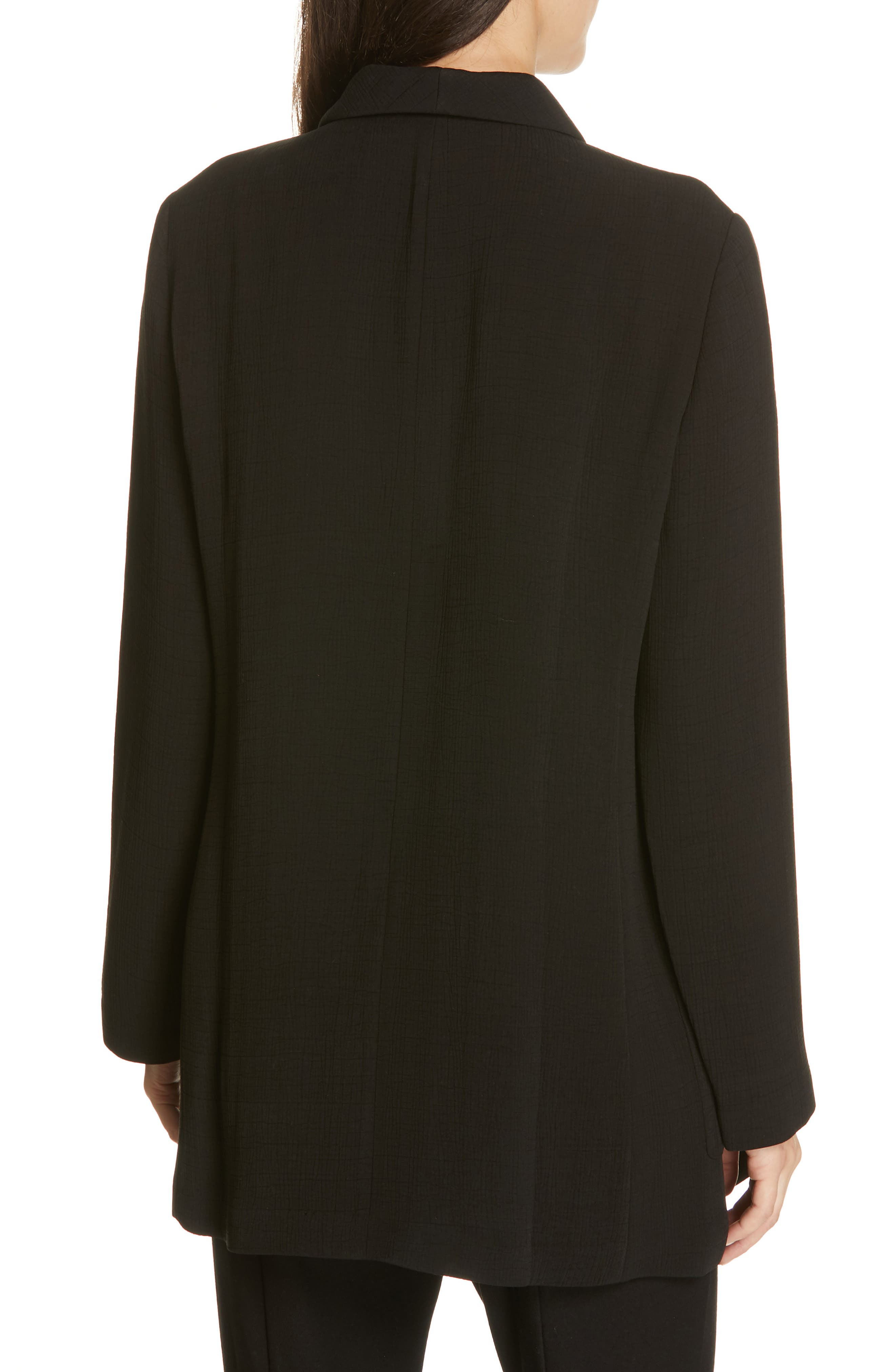 EILEEN FISHER, Double Breasted Blazer, Alternate thumbnail 2, color, BLACK