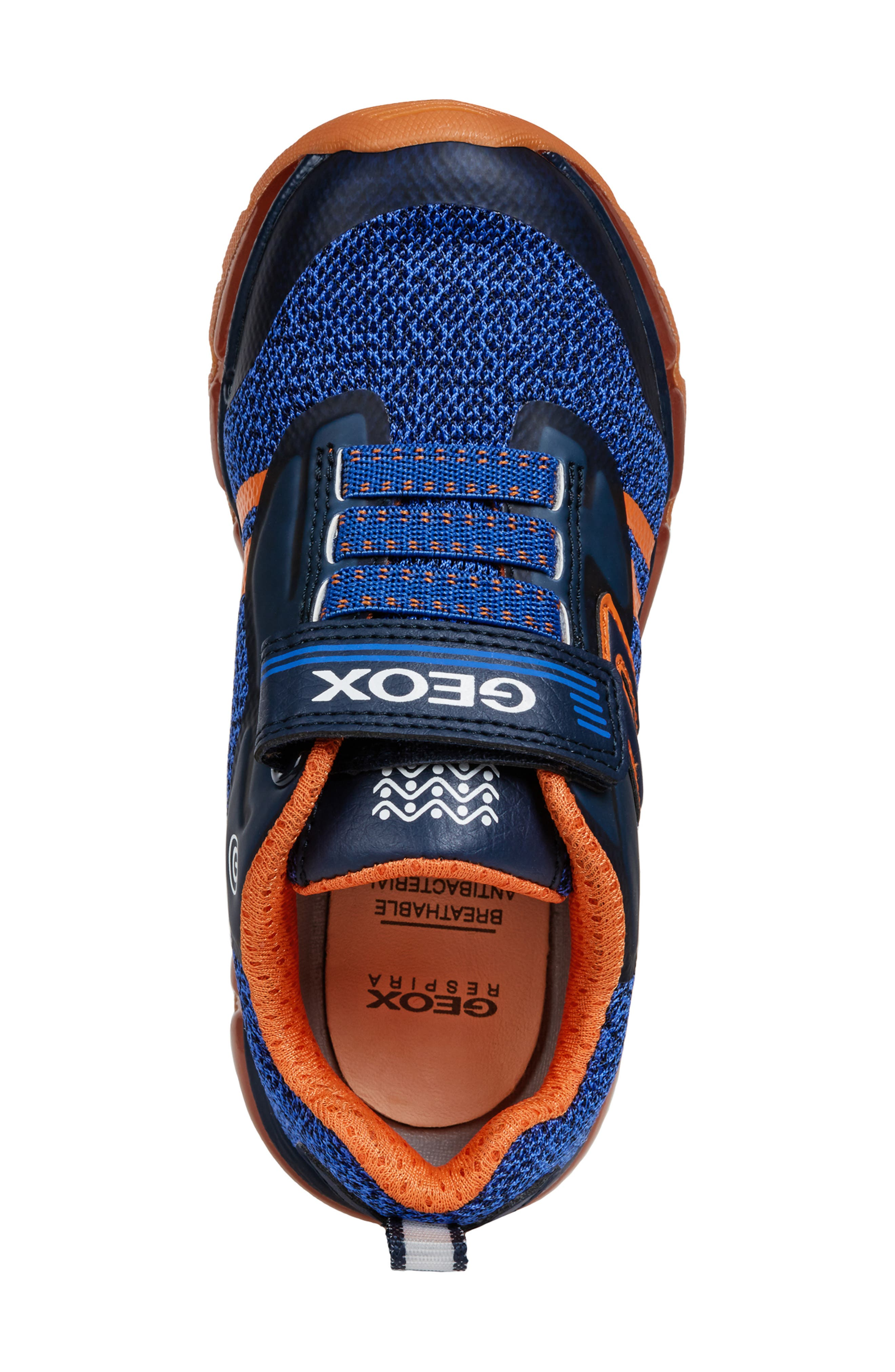 GEOX, Android 19 Light-Up Sneaker, Alternate thumbnail 5, color, NAVY/ ORANGE