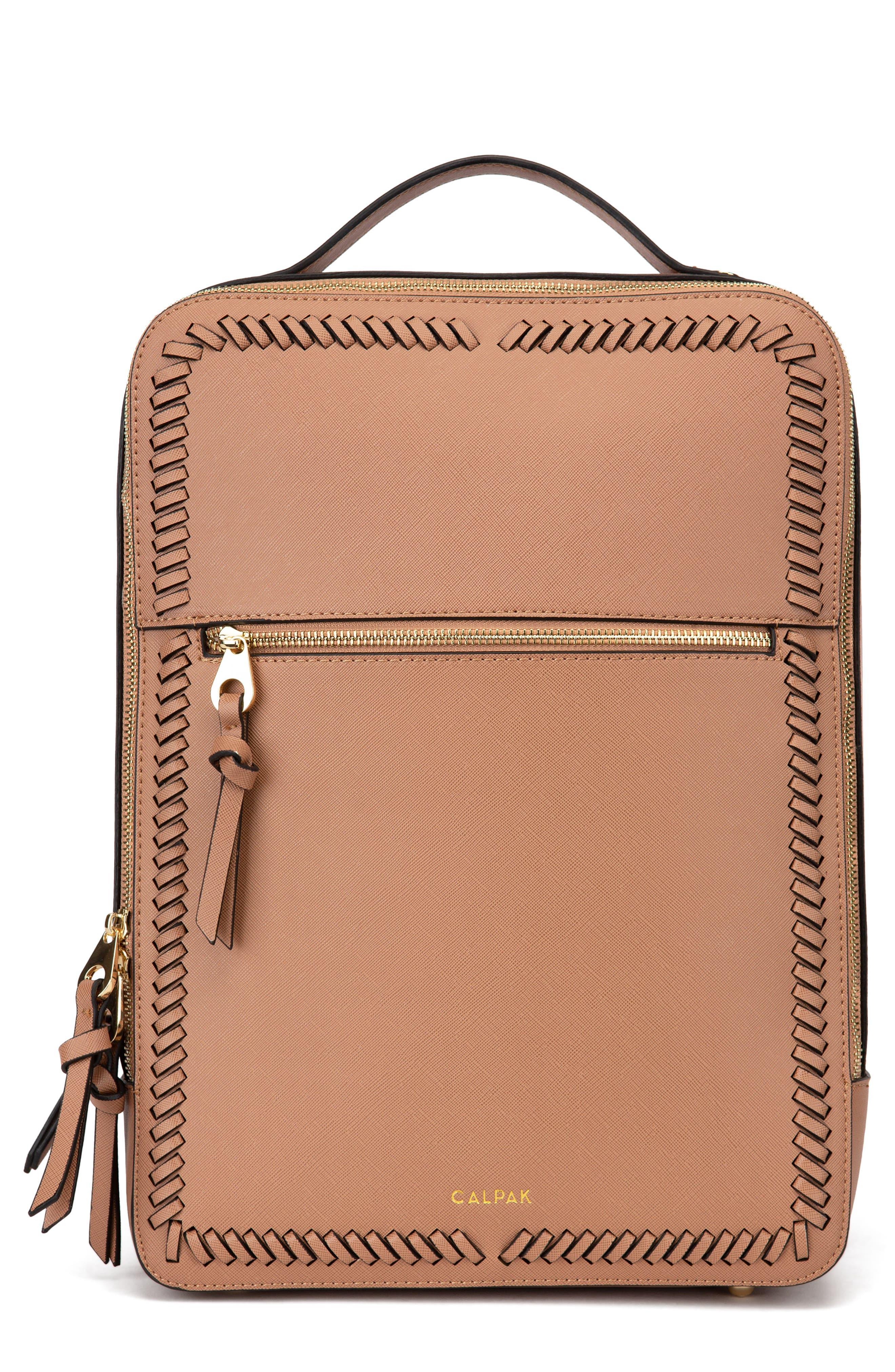 CALPAK, Kaya Faux Leather Laptop Backpack, Main thumbnail 1, color, CARAMEL