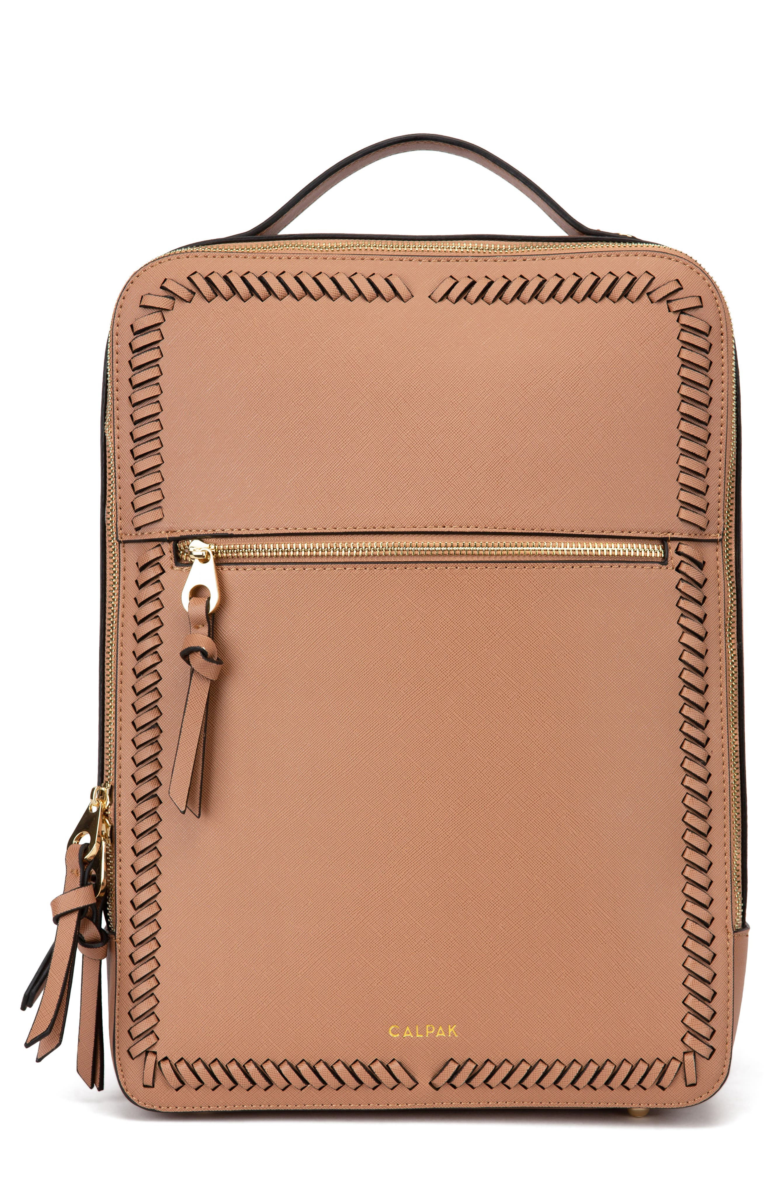 CALPAK Kaya Faux Leather Laptop Backpack, Main, color, CARAMEL