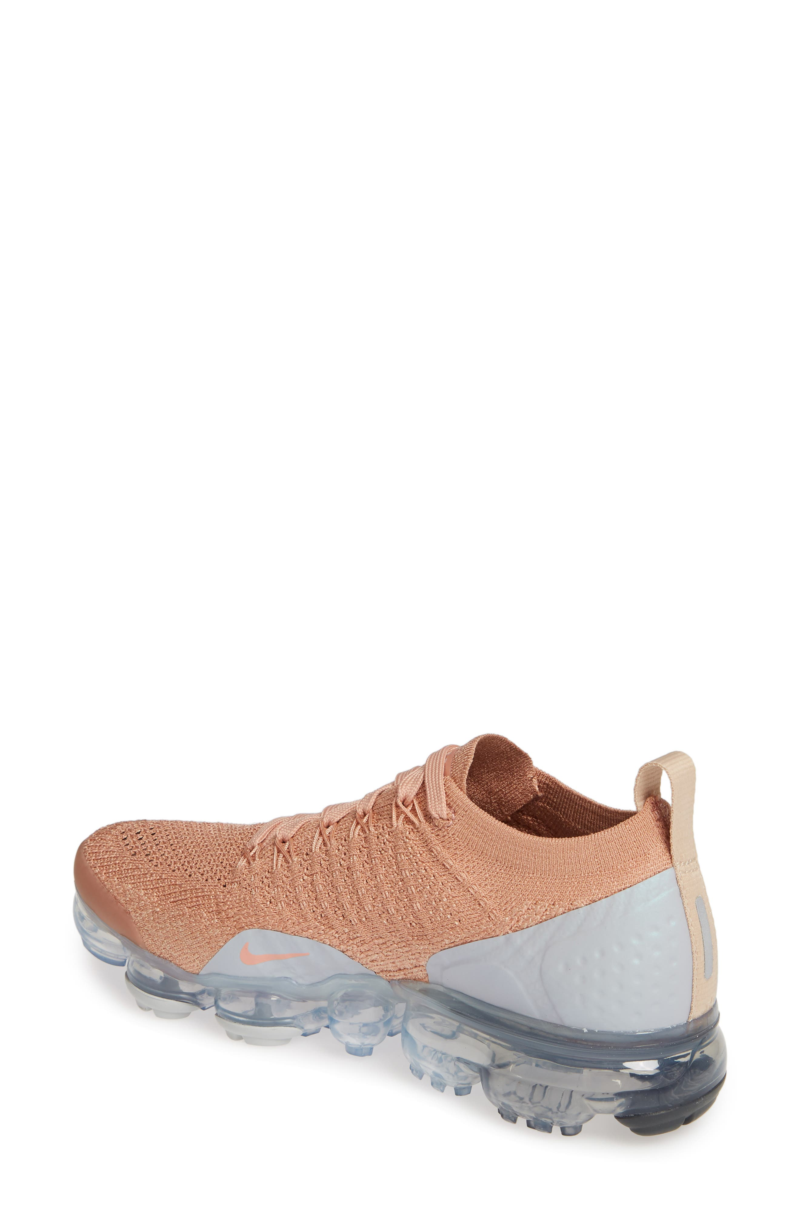 NIKE, Air VaporMax Flyknit 2 Running Shoe, Alternate thumbnail 2, color, ROSE GOLD/ BIO BEIGE