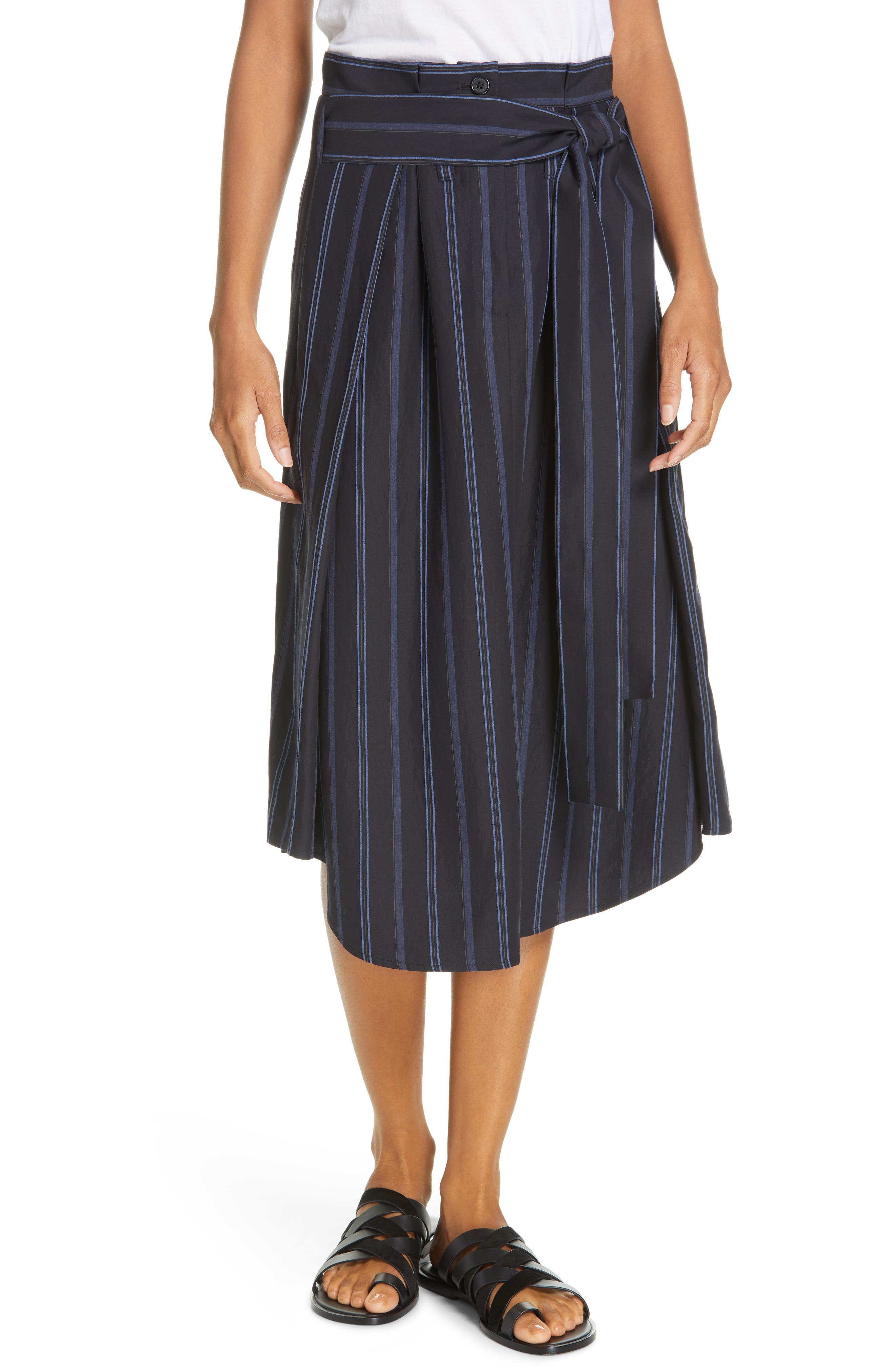 VINCE Dobby Stripe Belted Skirt, Main, color, INDIGO
