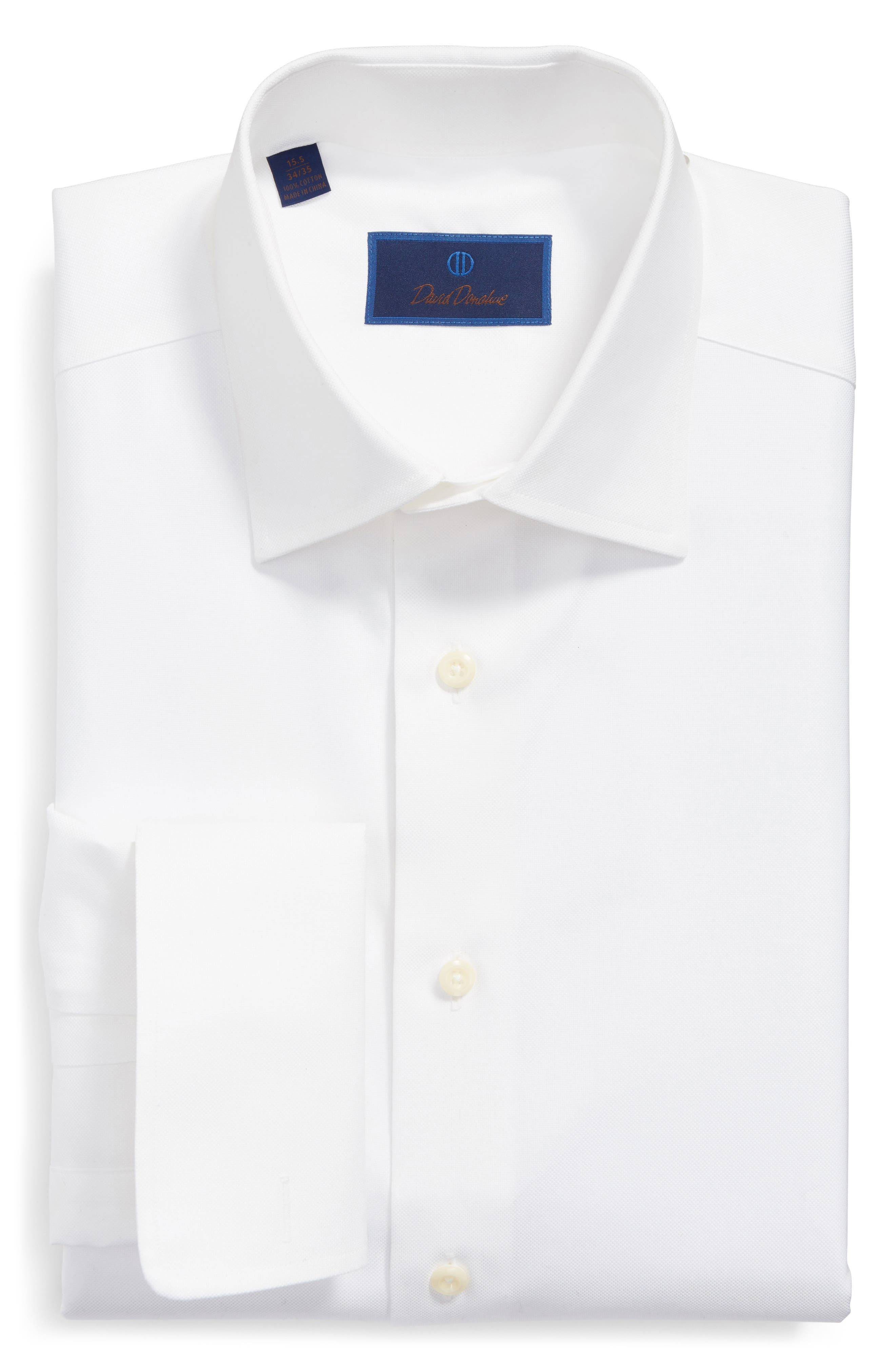 DAVID DONAHUE Regular Fit Texture French Cuff Dress Shirt, Main, color, WHITE