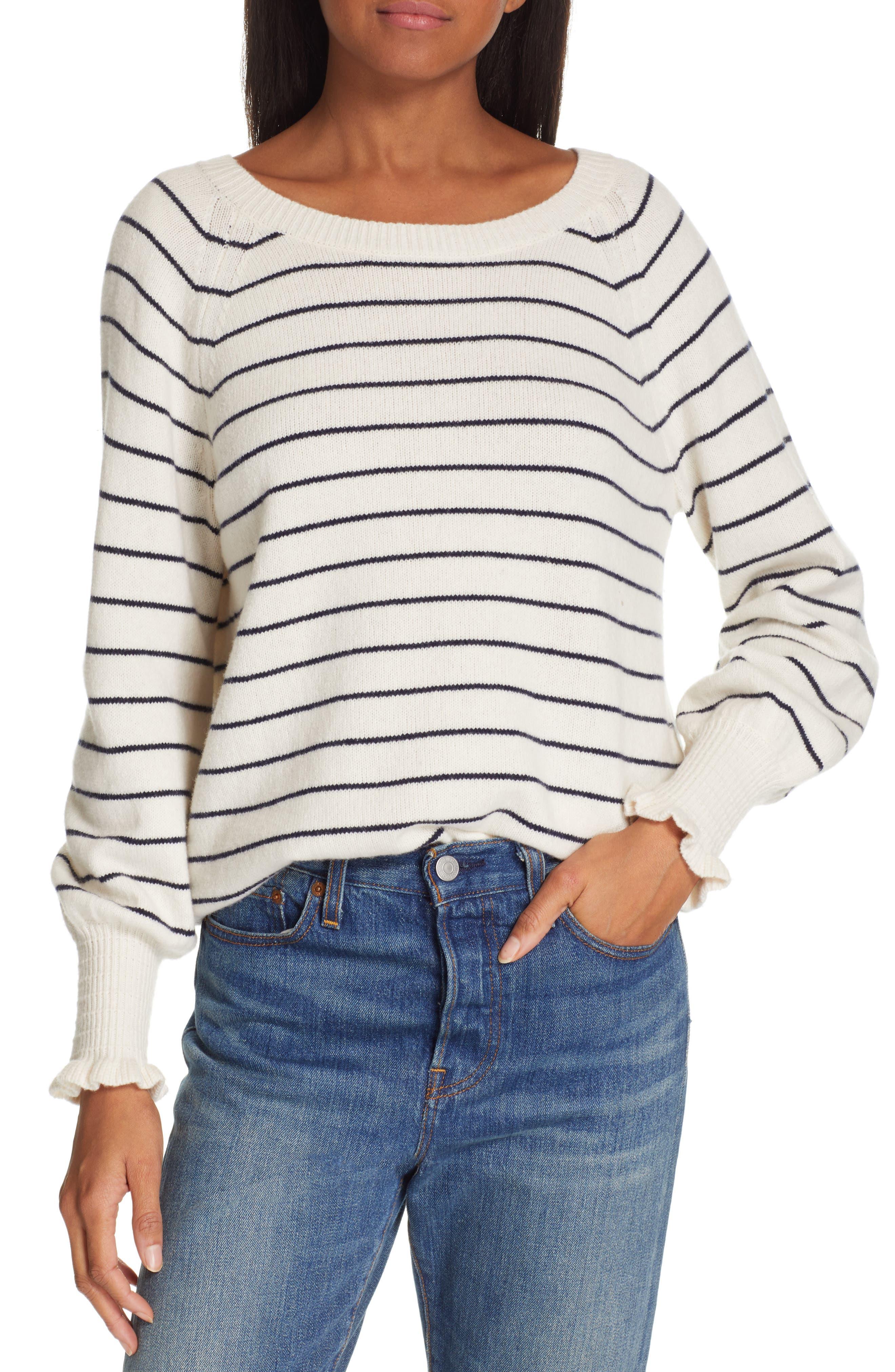 Rebecca Taylor Stripe Wool Blend Sweater, Ivory