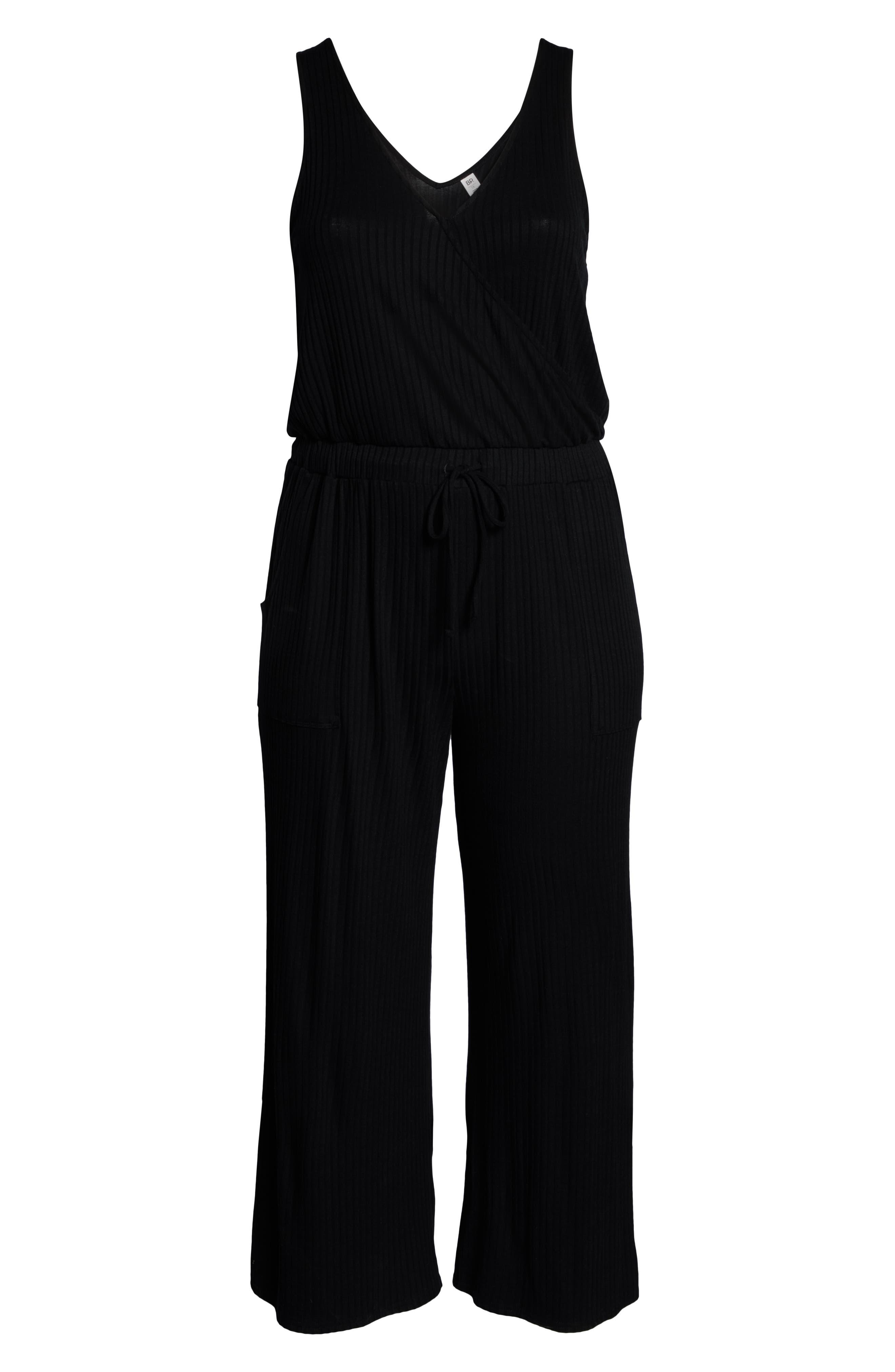 BP., Wide Leg Rib Jumpsuit, Alternate thumbnail 13, color, BLACK