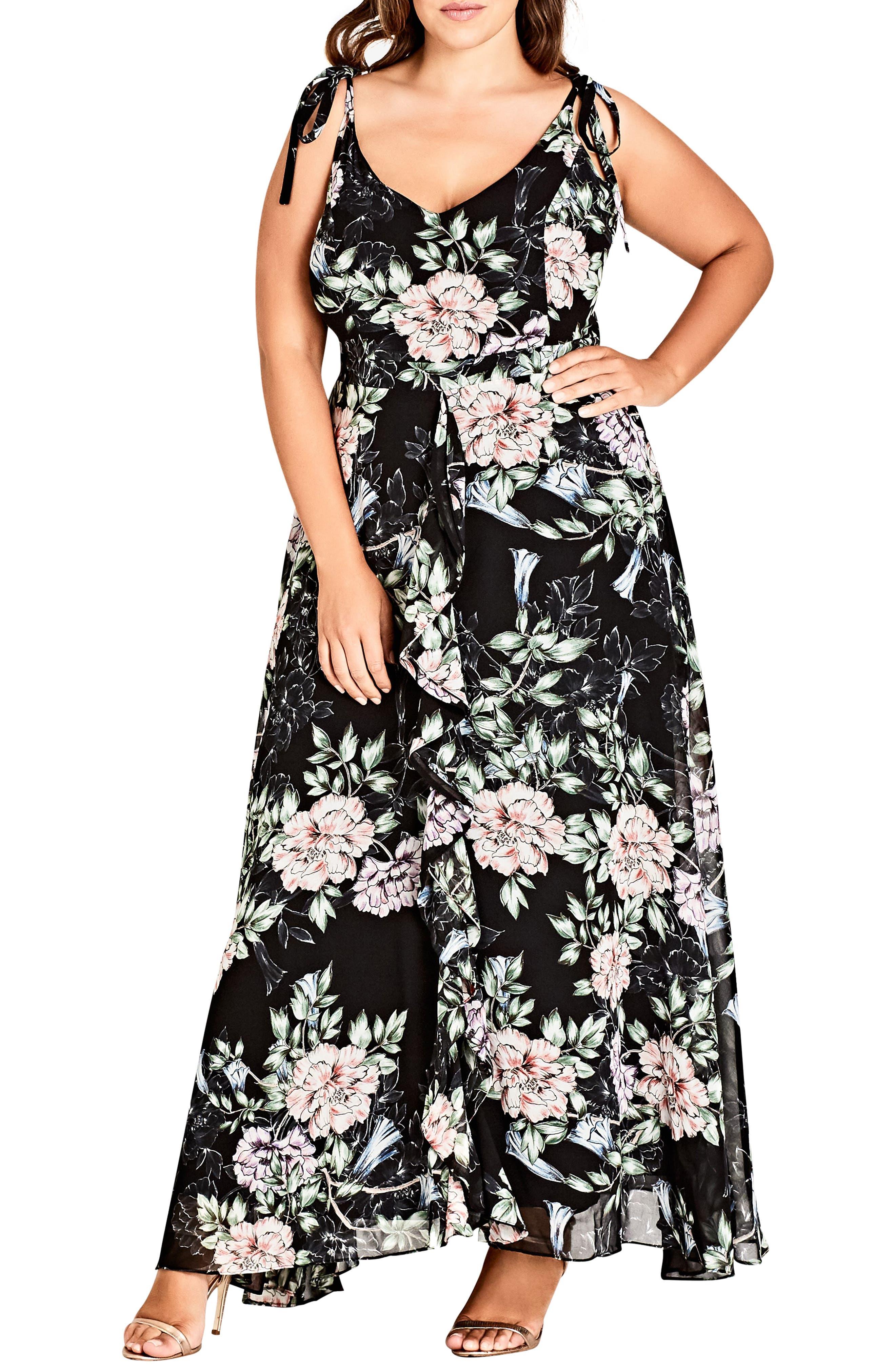 Plus Size City Chic Blossoms Sleeveless Maxi Dress, Black