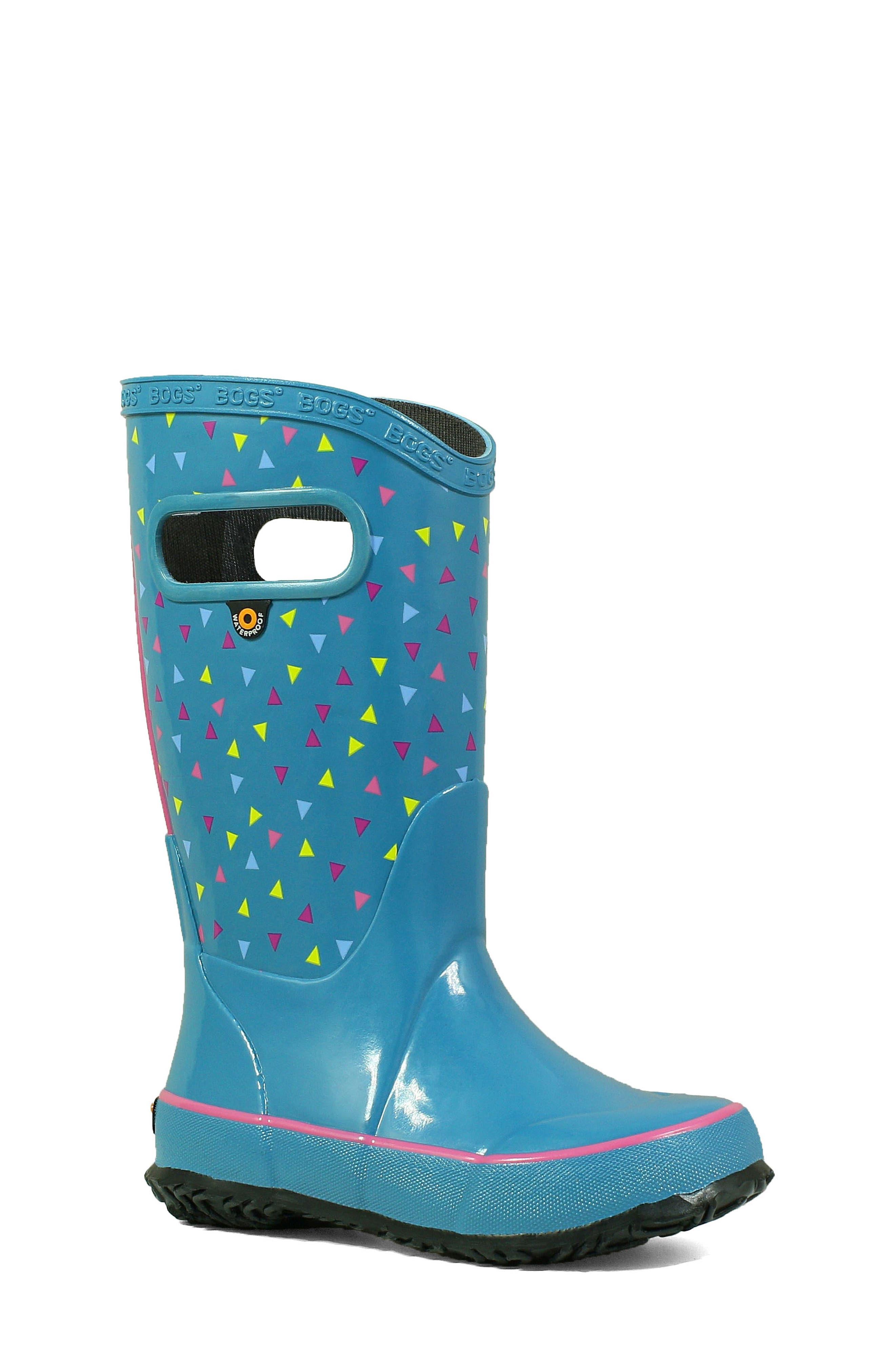 BOGS, Dots Waterproof Rain Boot, Main thumbnail 1, color, DARK BLUE MULTI