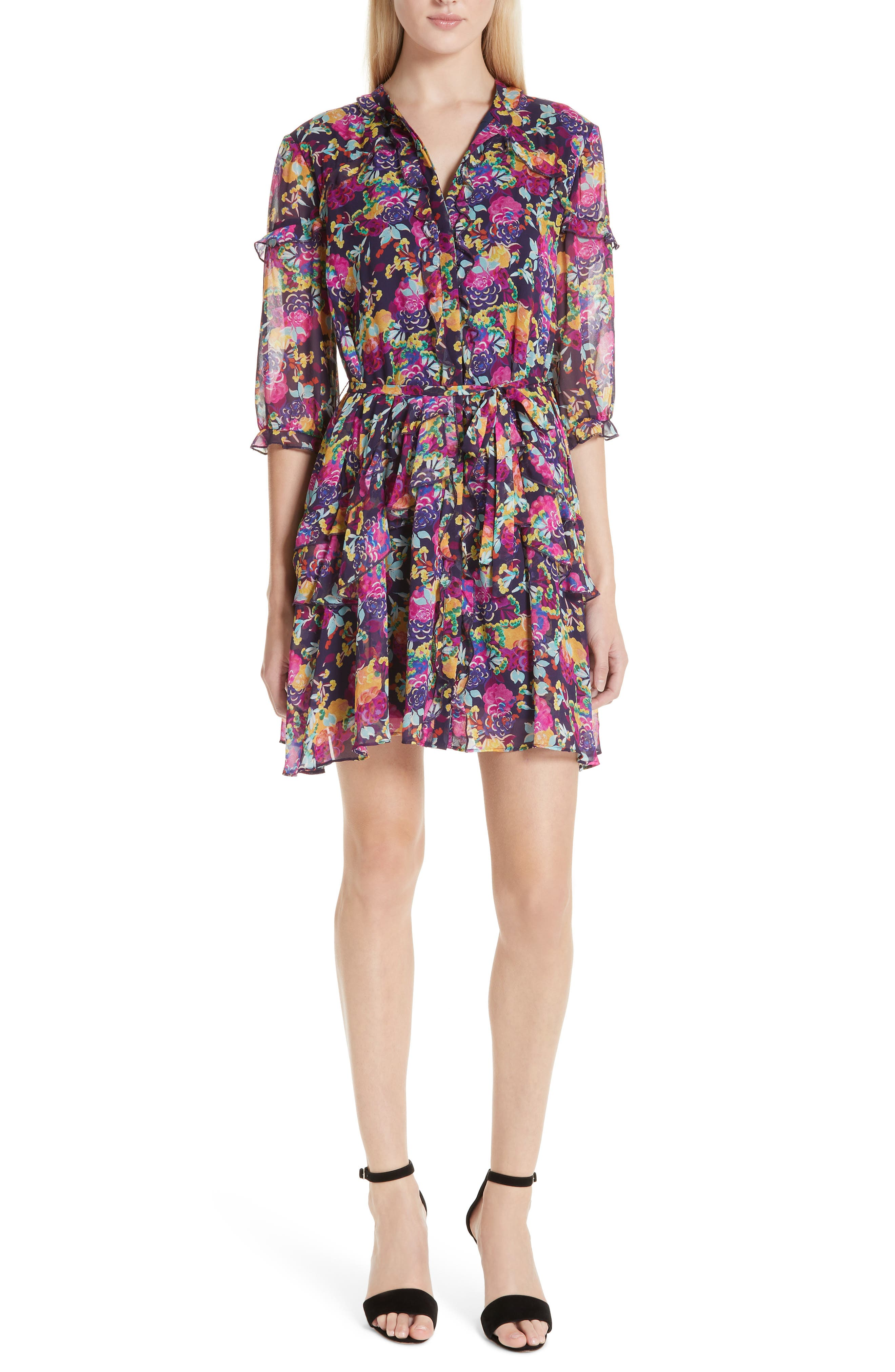 SALONI Tilly Ruffle Silk Dress, Main, color, CAMELLIA