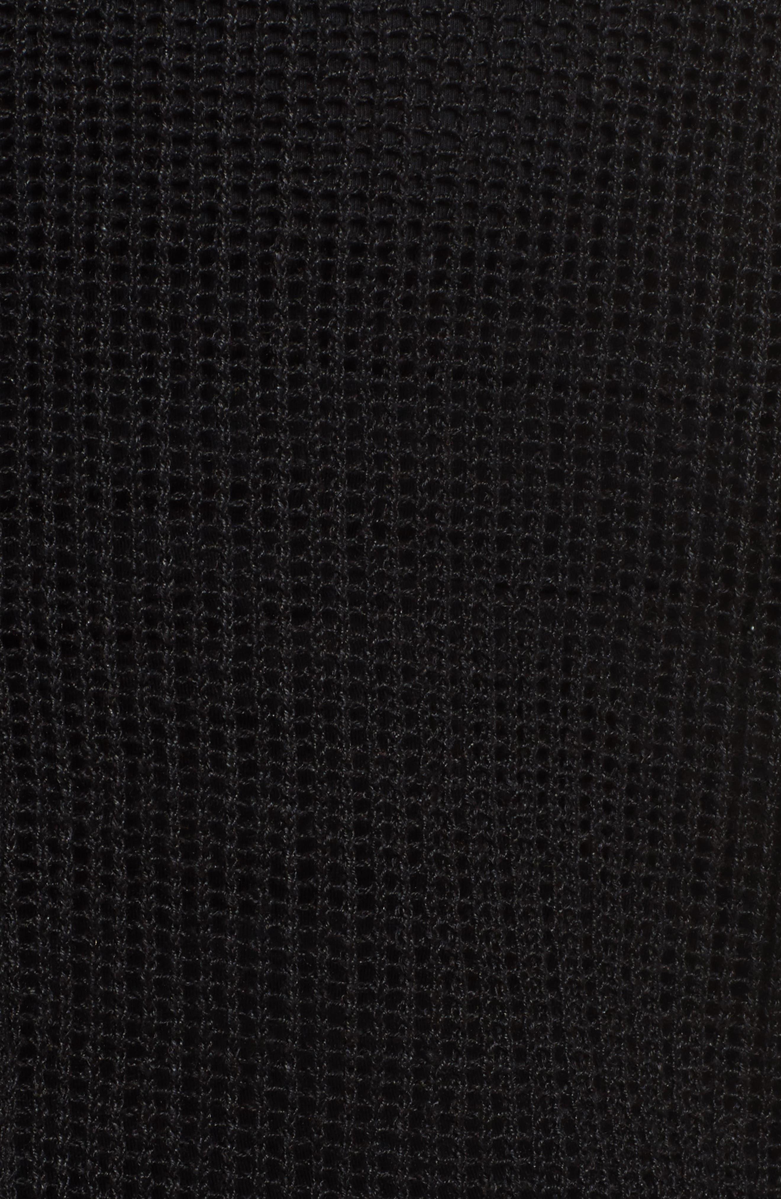 EILEEN FISHER, Organic Linen Mesh Knit Top, Alternate thumbnail 5, color, 001