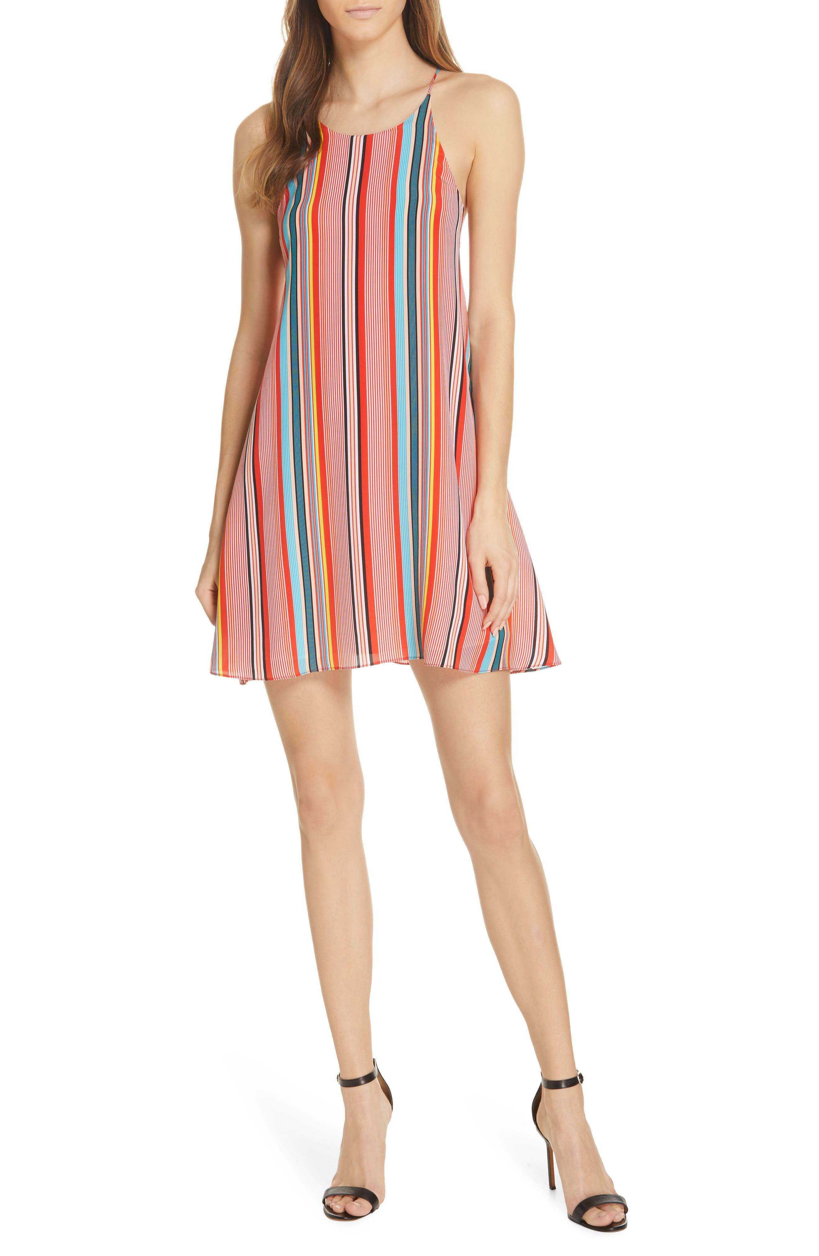 Alice + Olivia Kalia Stripe Tie Back Minidress, Coral